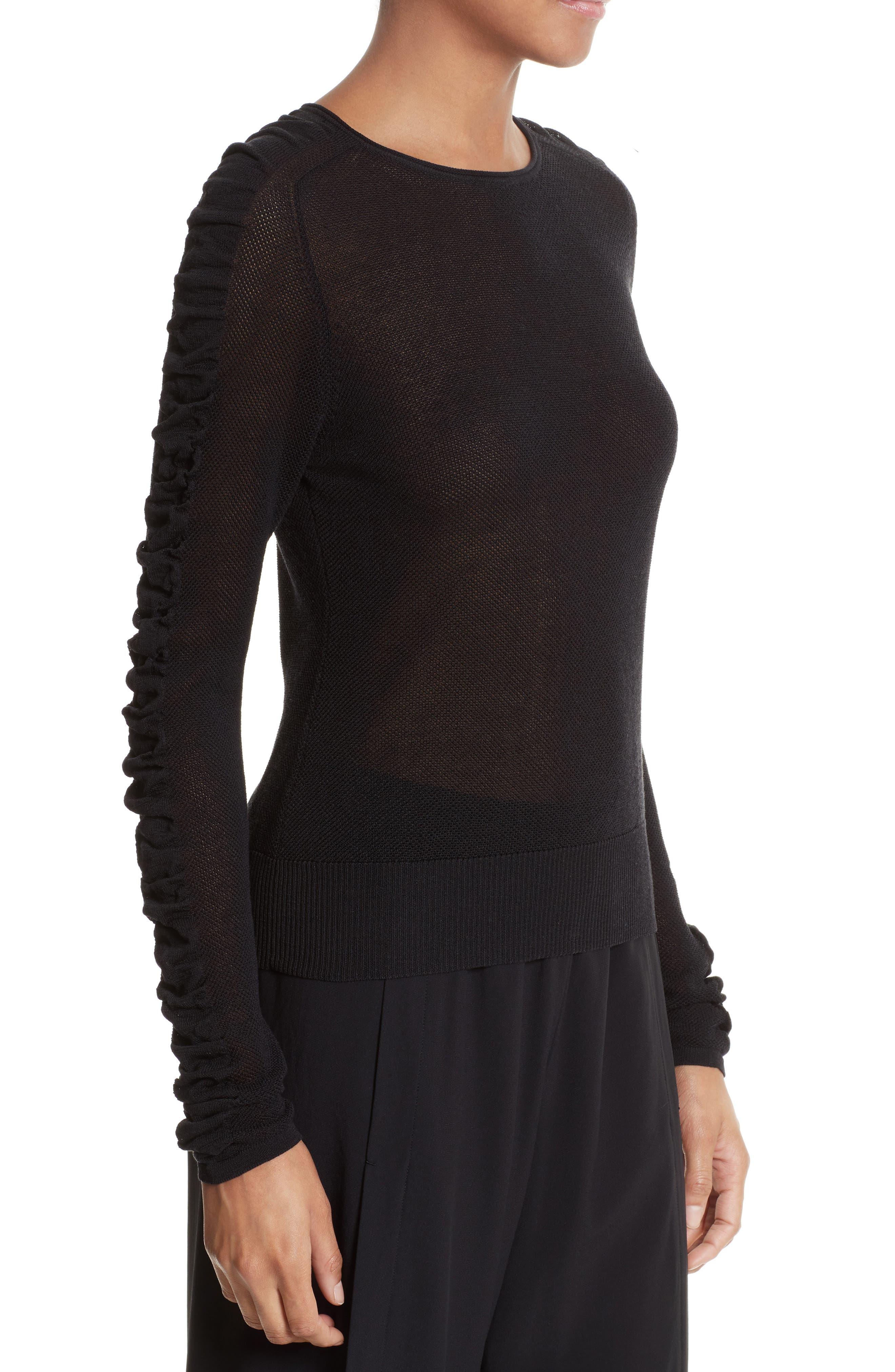 Alternate Image 3  - Helmut Lang Shirred Silk Blend Pullover