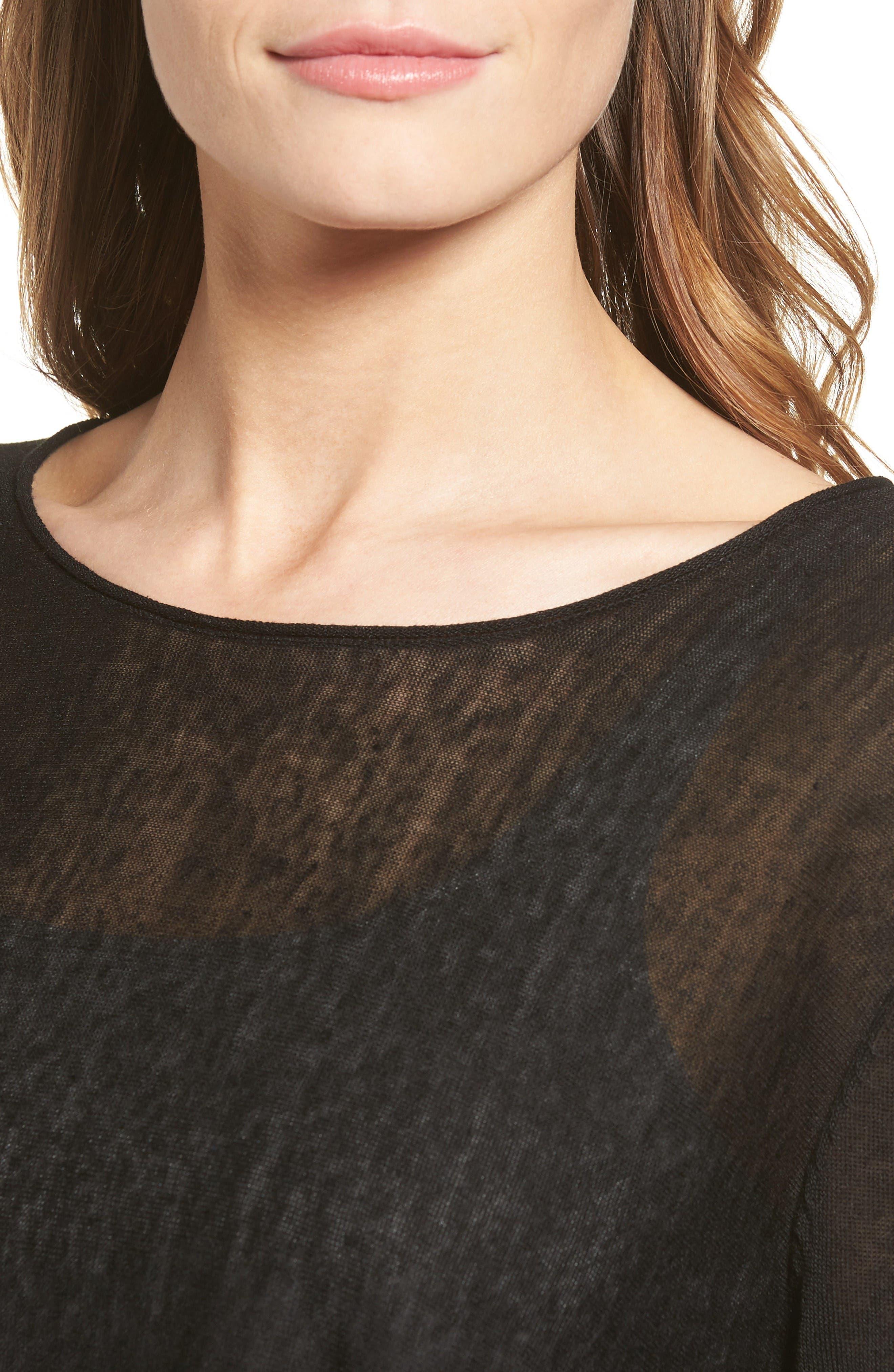 Alternate Image 4  - Eileen Fisher Organic Linen Blend Swing Sweater (Regular & Petite)