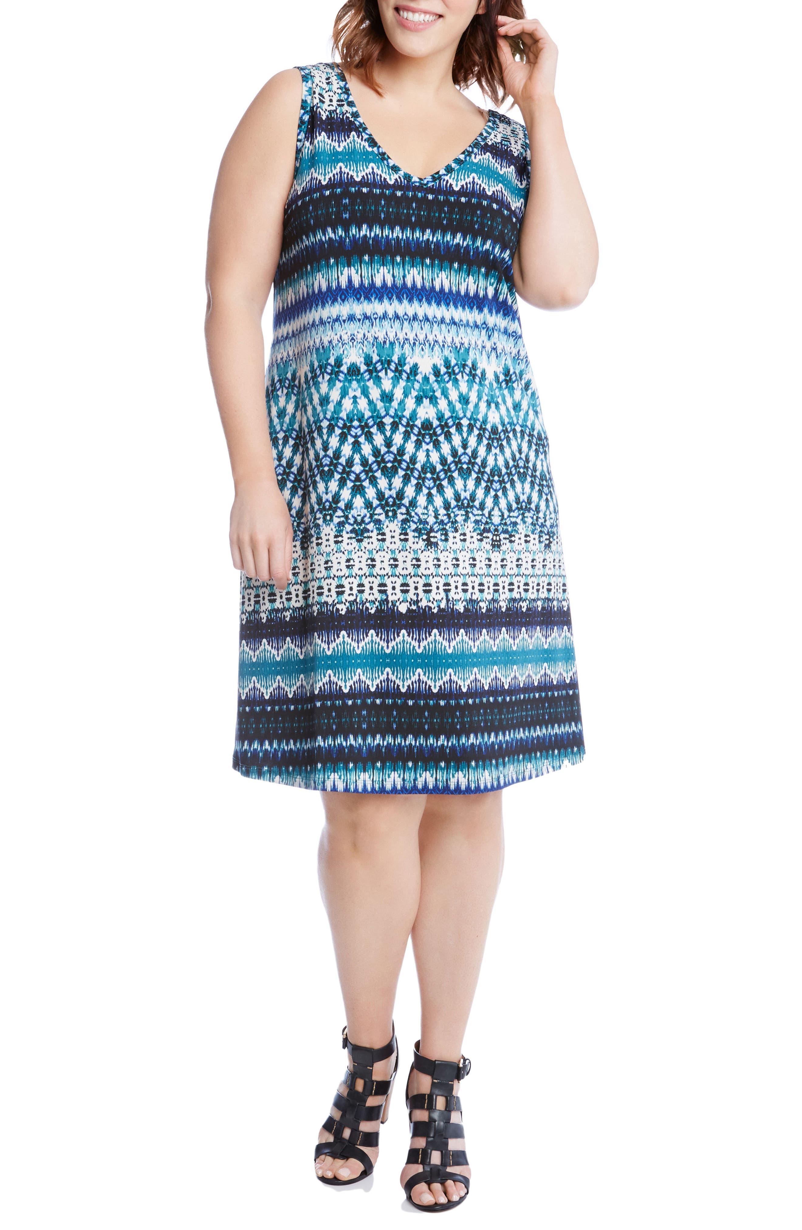 Karen Kane Brigitte Batik Stripe Tank Dress (Plus Size)