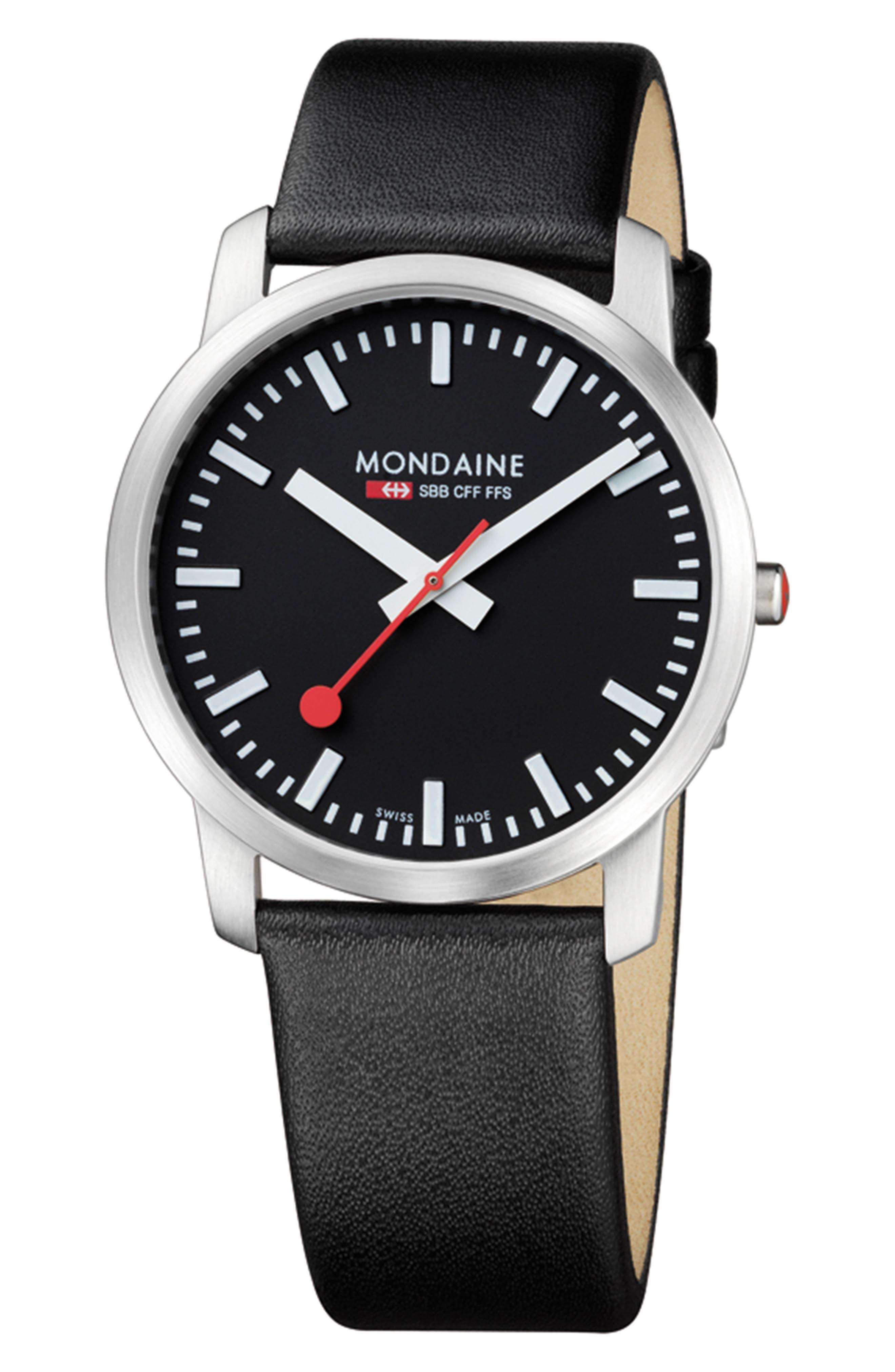 MONDAINE Elegant Leather Strap Watch, 41mm
