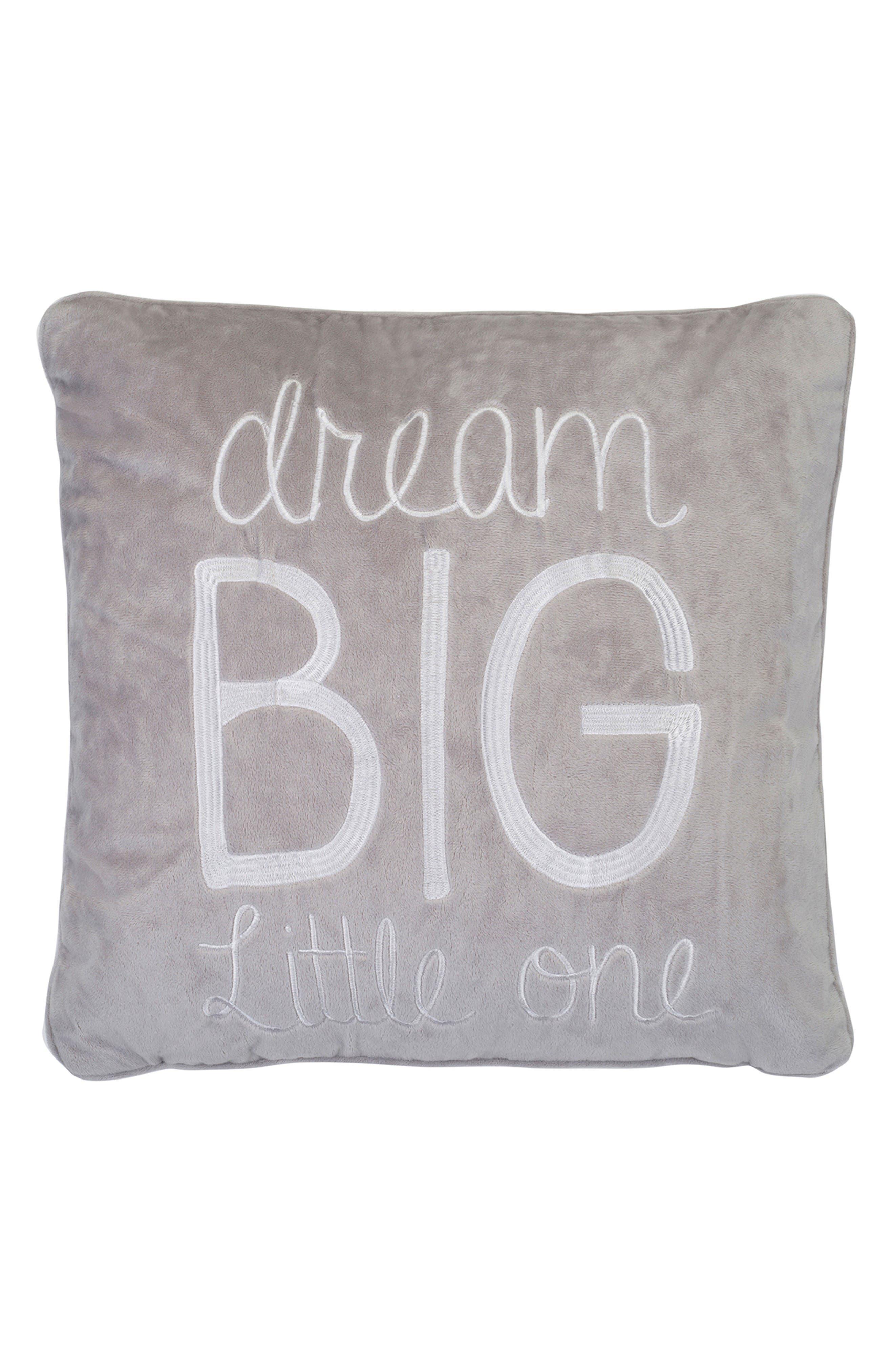 Jayme Dream Big Accent Pillow,                         Main,                         color, Grey