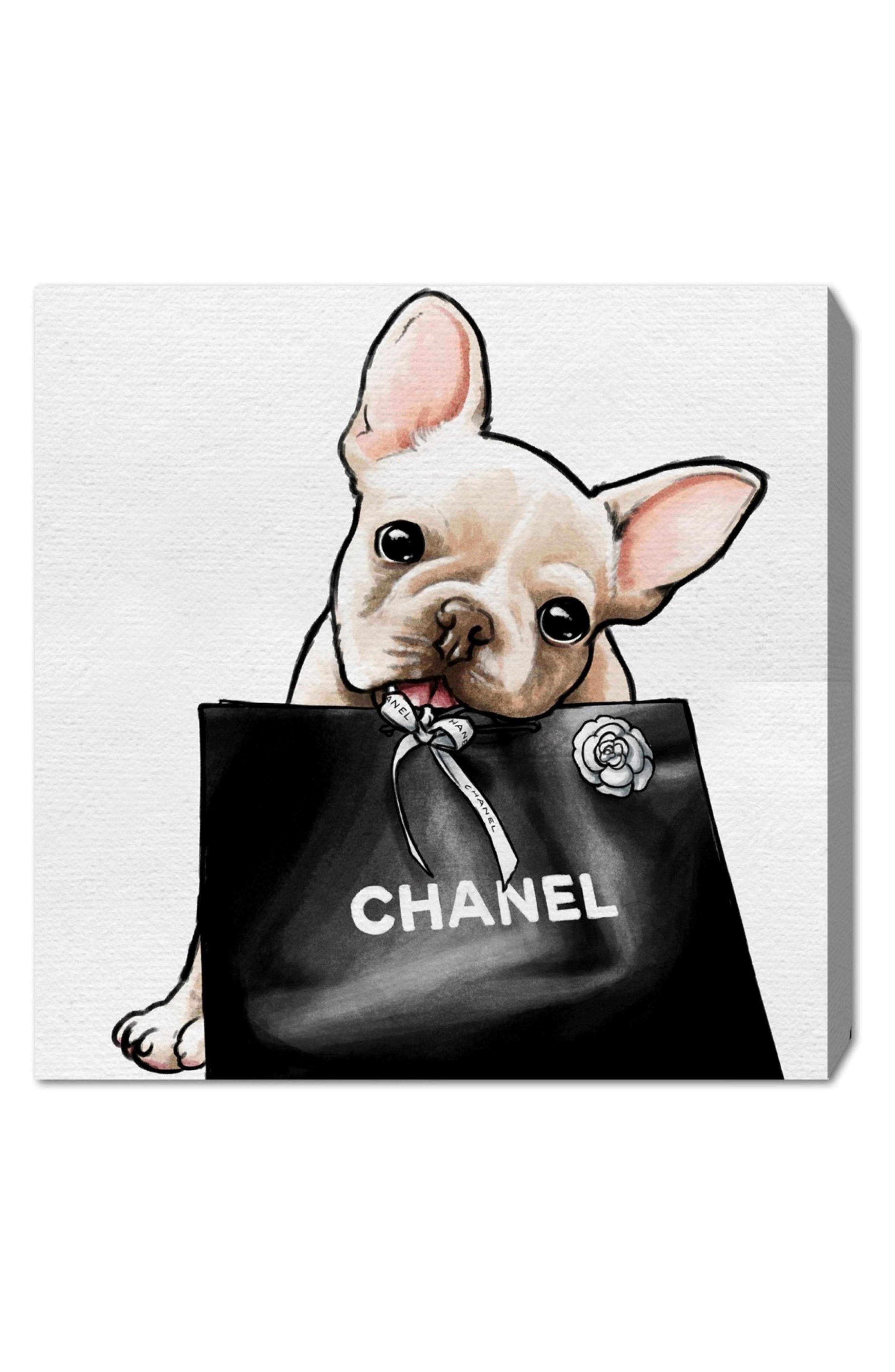 Frenchie Glam Canvas Wall Art,                         Main,                         color, White