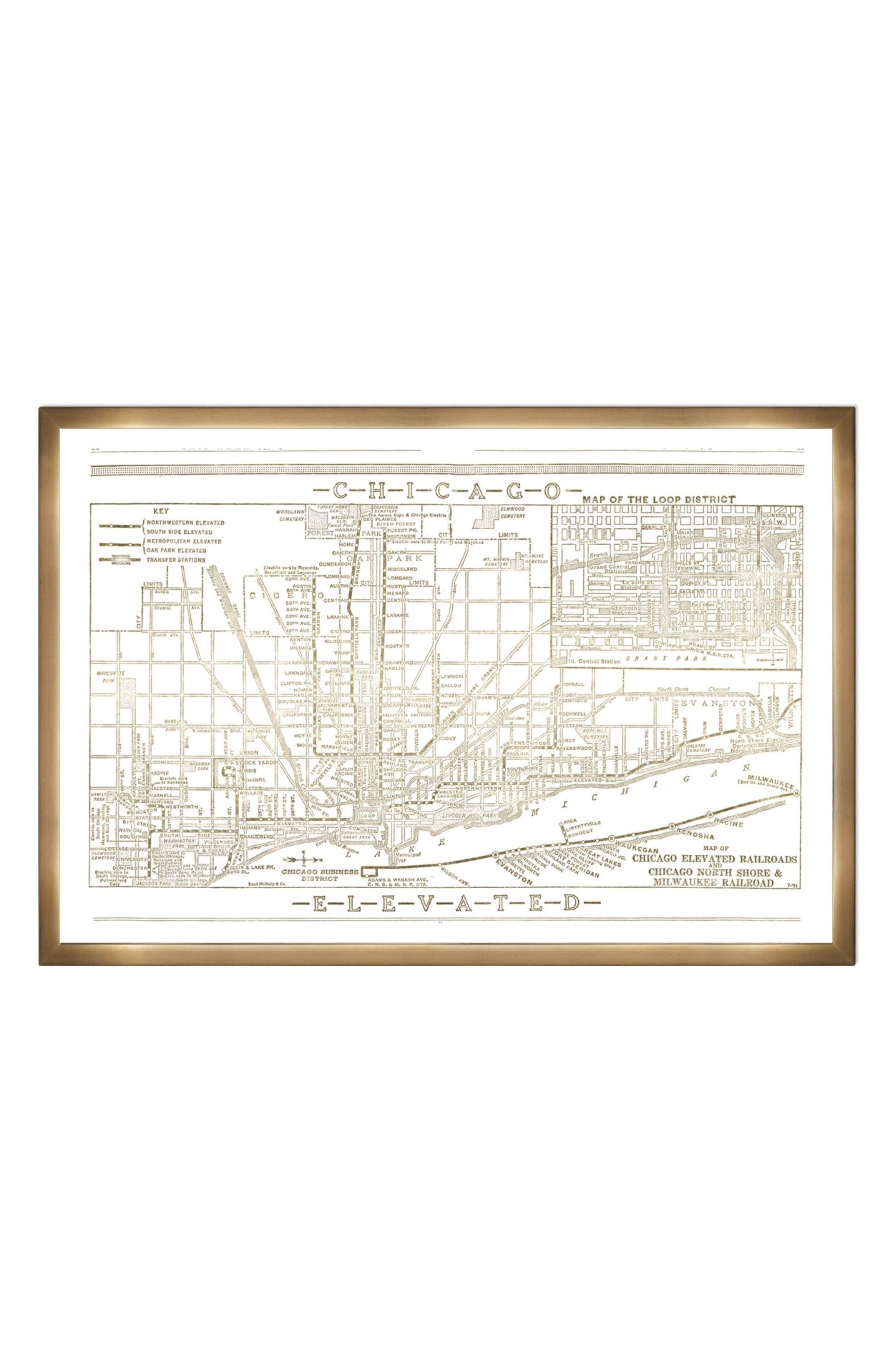 Alternate Image 1 Selected - Oliver Gal Chicago Railroad Blueprint Wall Art