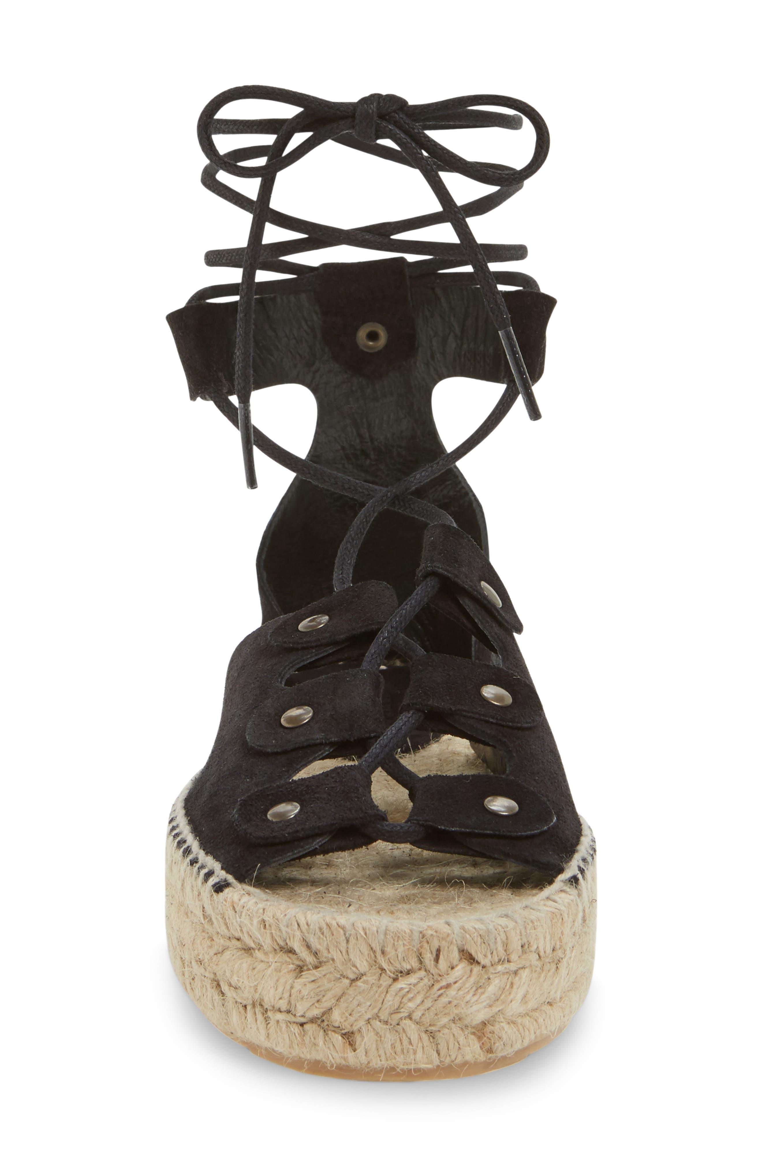 Ghillie Platform Sandal,                             Alternate thumbnail 4, color,                             Black Suede