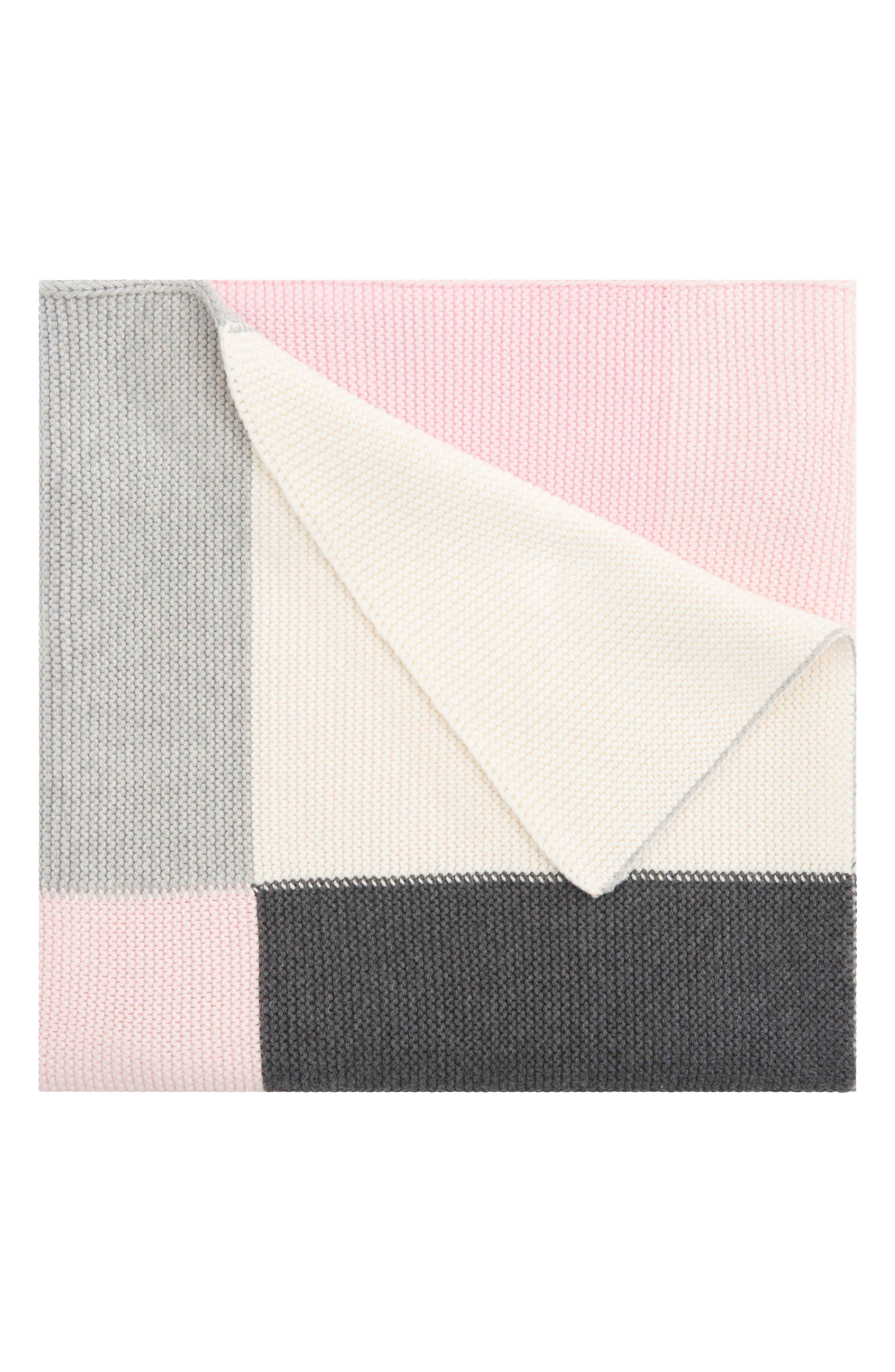 'Patchwork' Knit Blanket,                             Main thumbnail 1, color,                             Light Pink