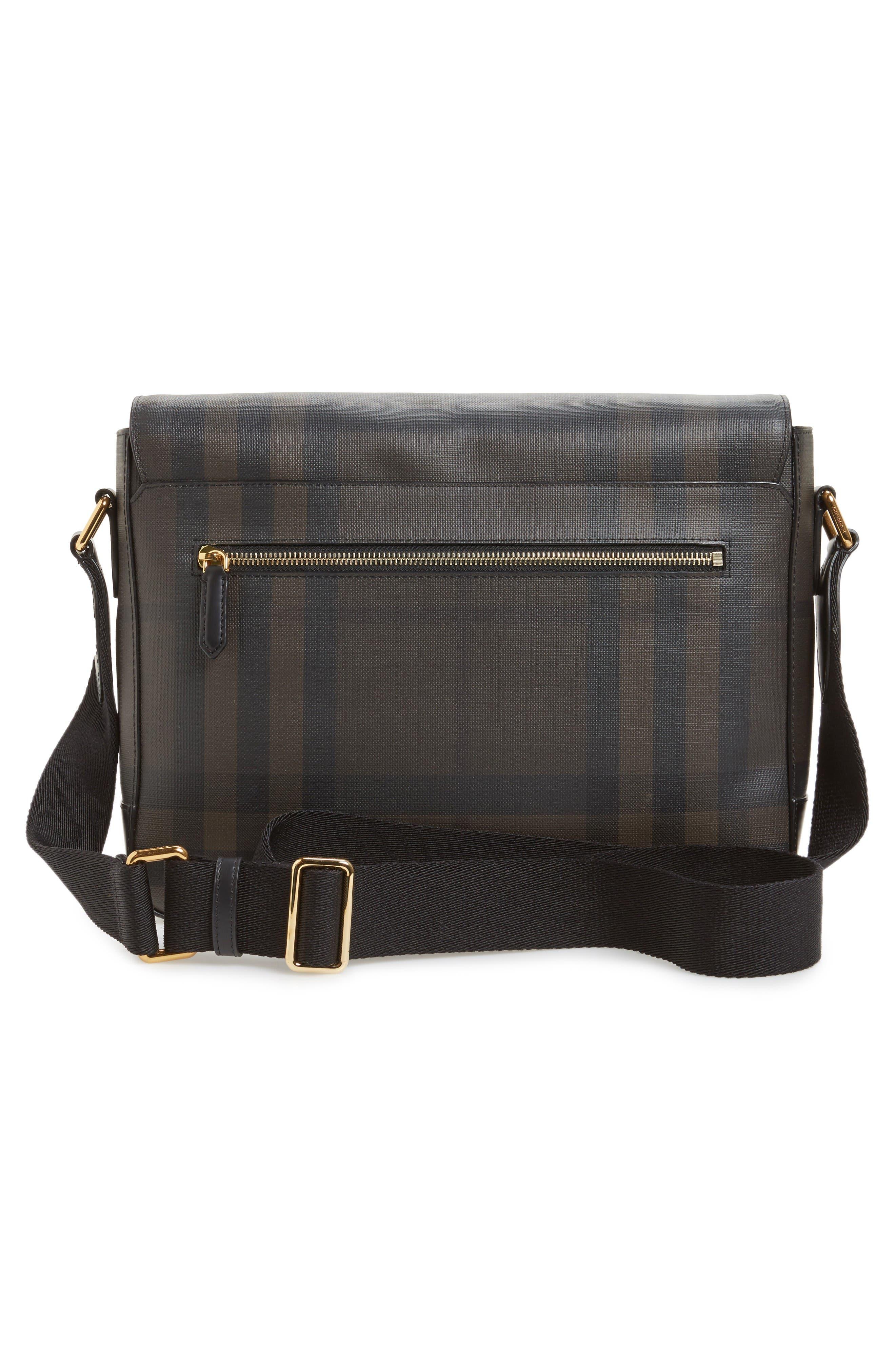 Edgware Check Messenger Bag,                             Alternate thumbnail 3, color,                             Chocolate/ Black