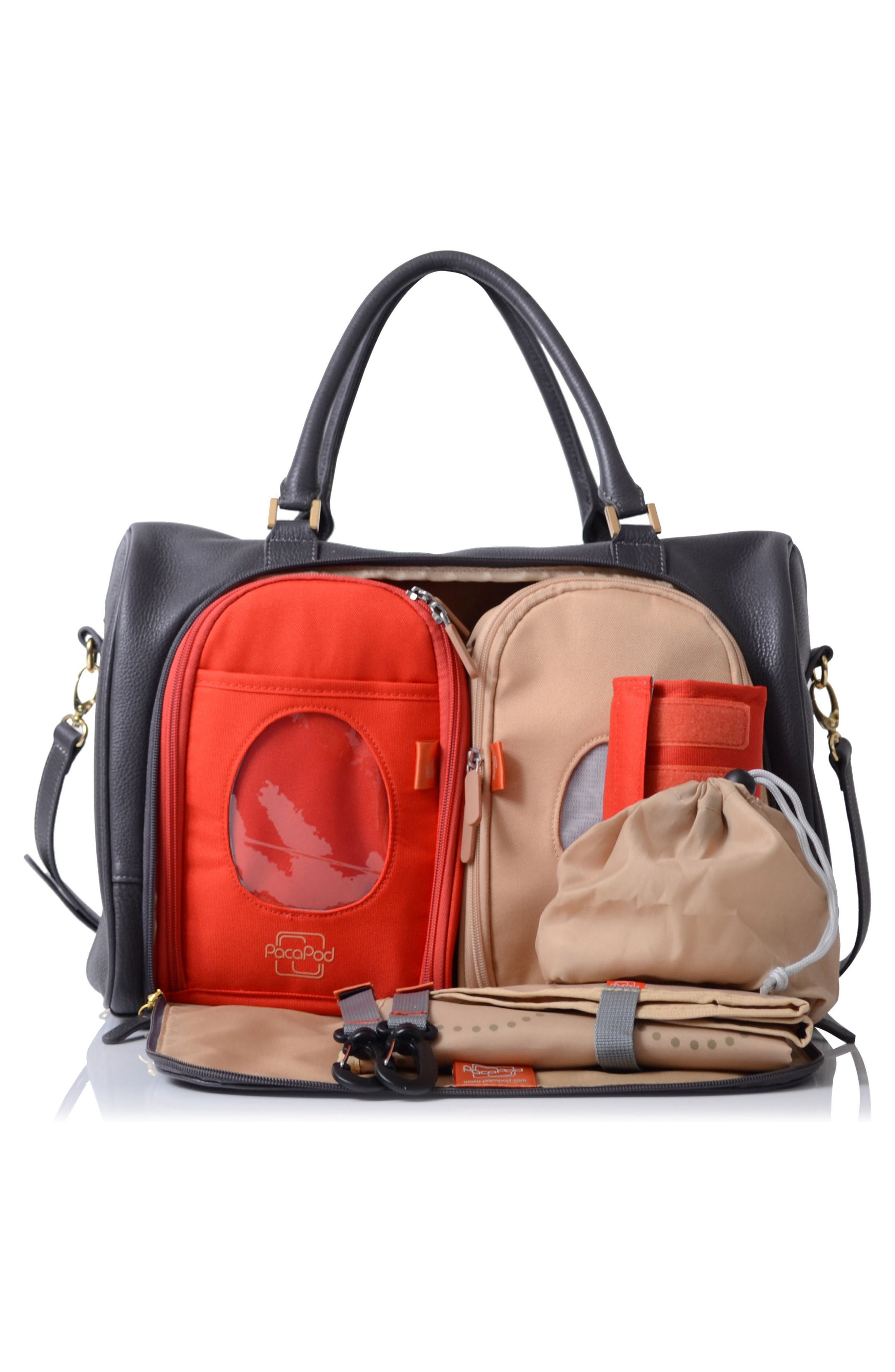 'Firenze' Leather Diaper Bag,                             Alternate thumbnail 2, color,                             Pewter