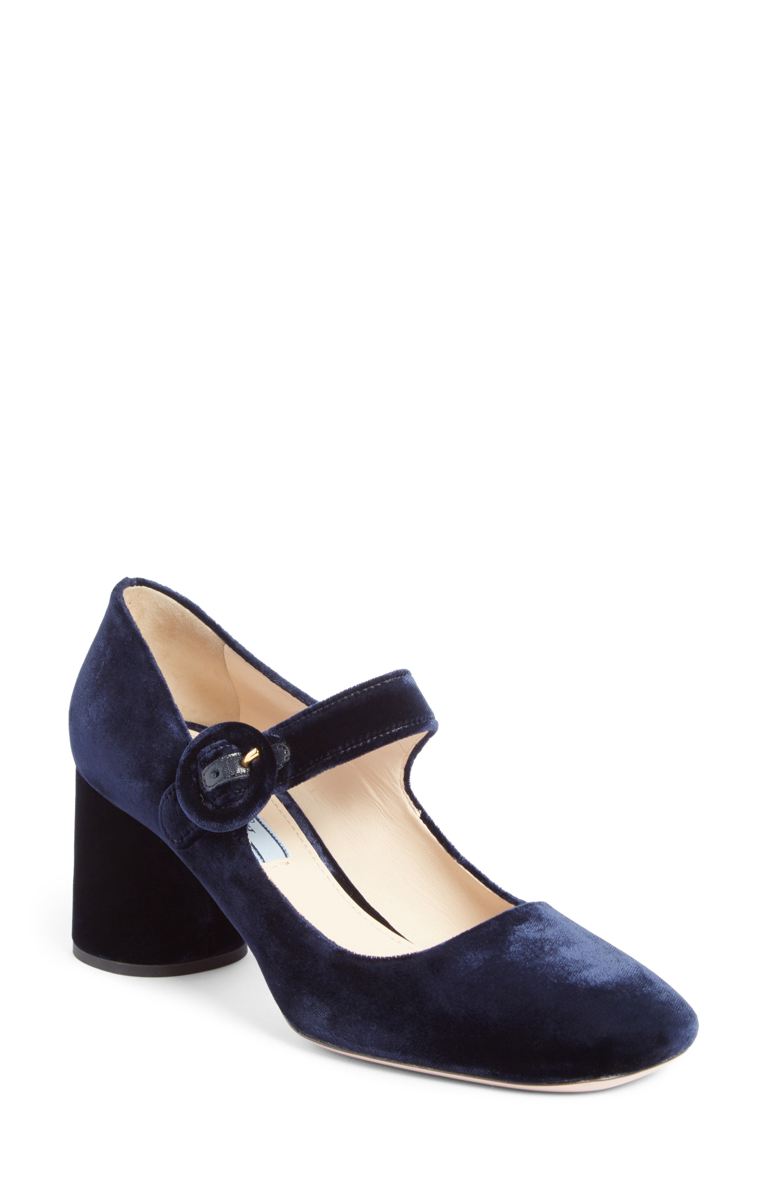 Prada Block Heel Mary Jane Pump (Women)