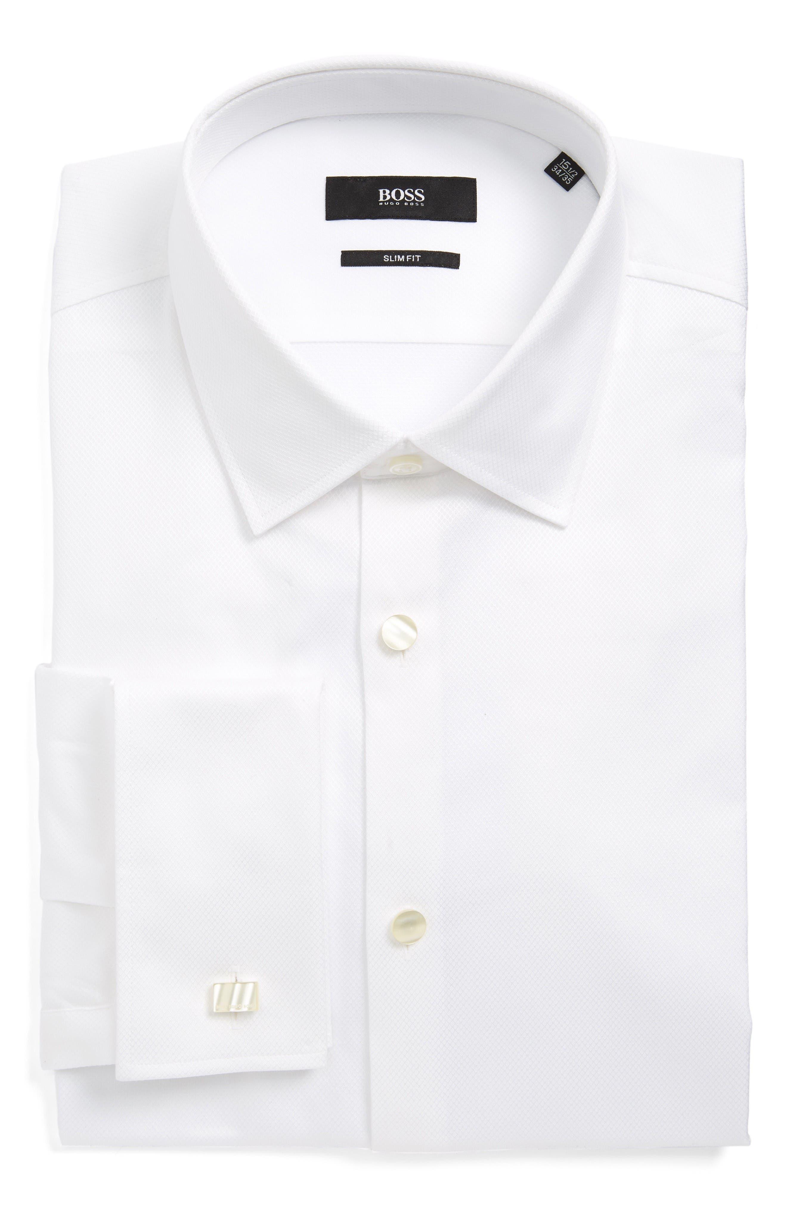 Jameson Slim Fit Diamond Weave French Cuff Tuxedo Shirt,                         Main,                         color, White
