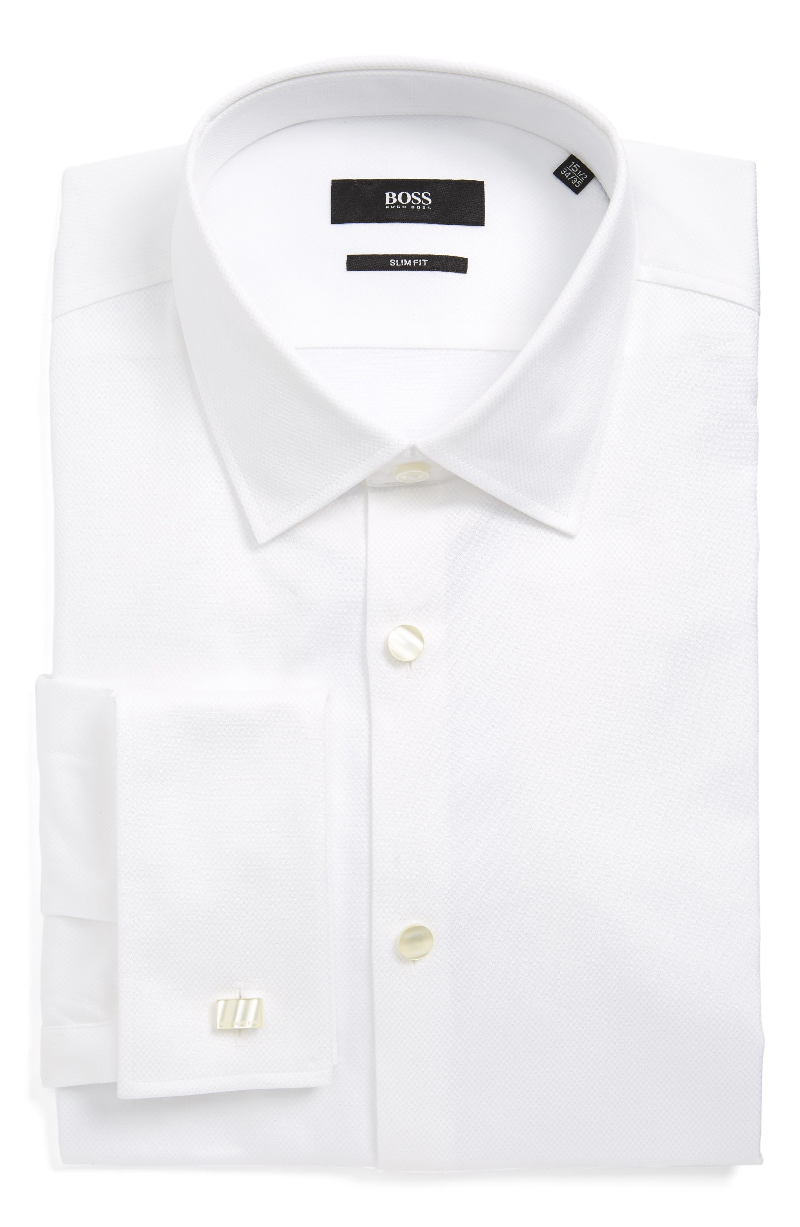 BOSS Jameson Slim Fit Diamond Weave French Cuff Tuxedo Shirt