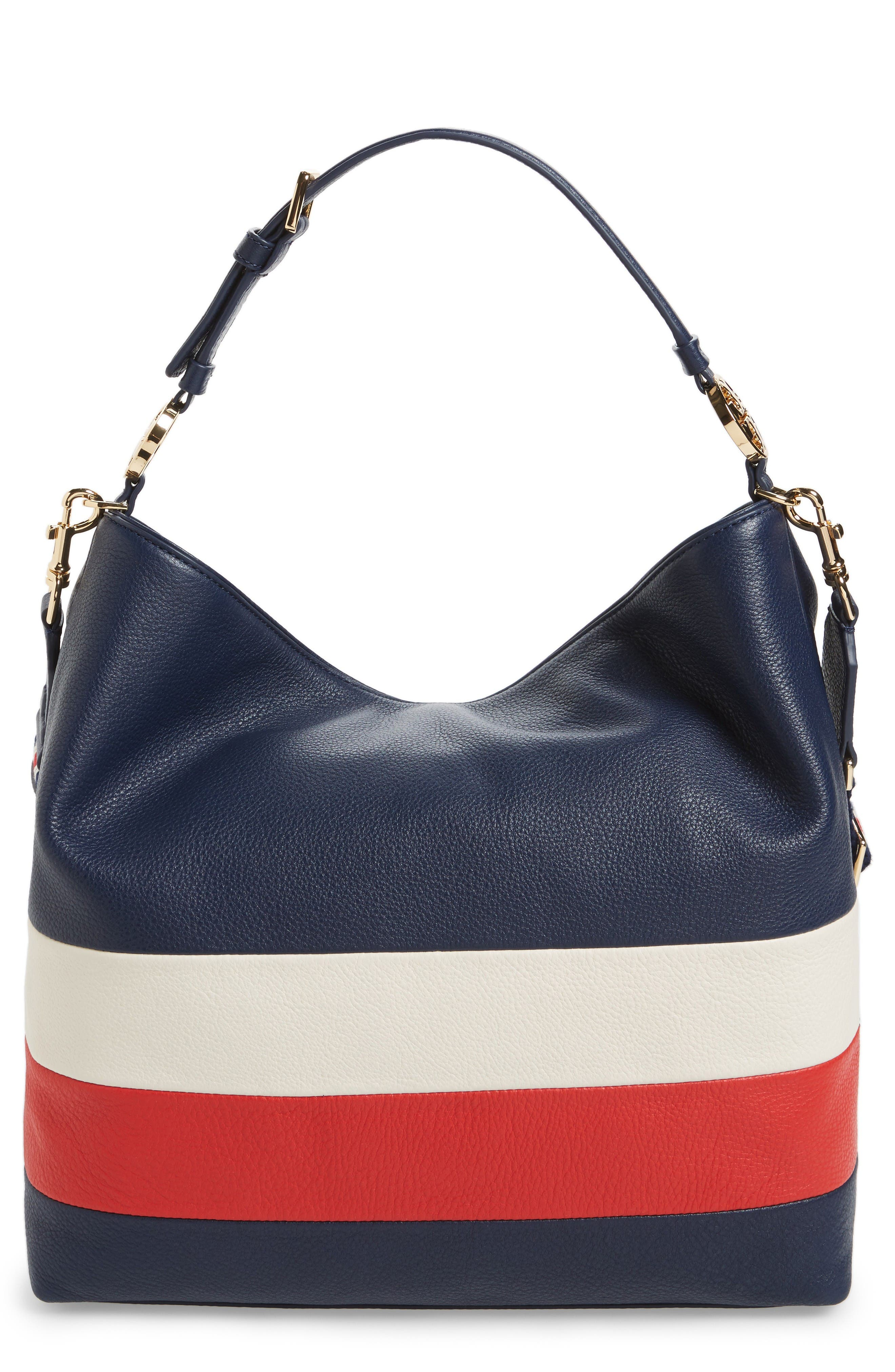 Alternate Image 1 Selected - Tory Burch Stripe Duet Leather Hobo