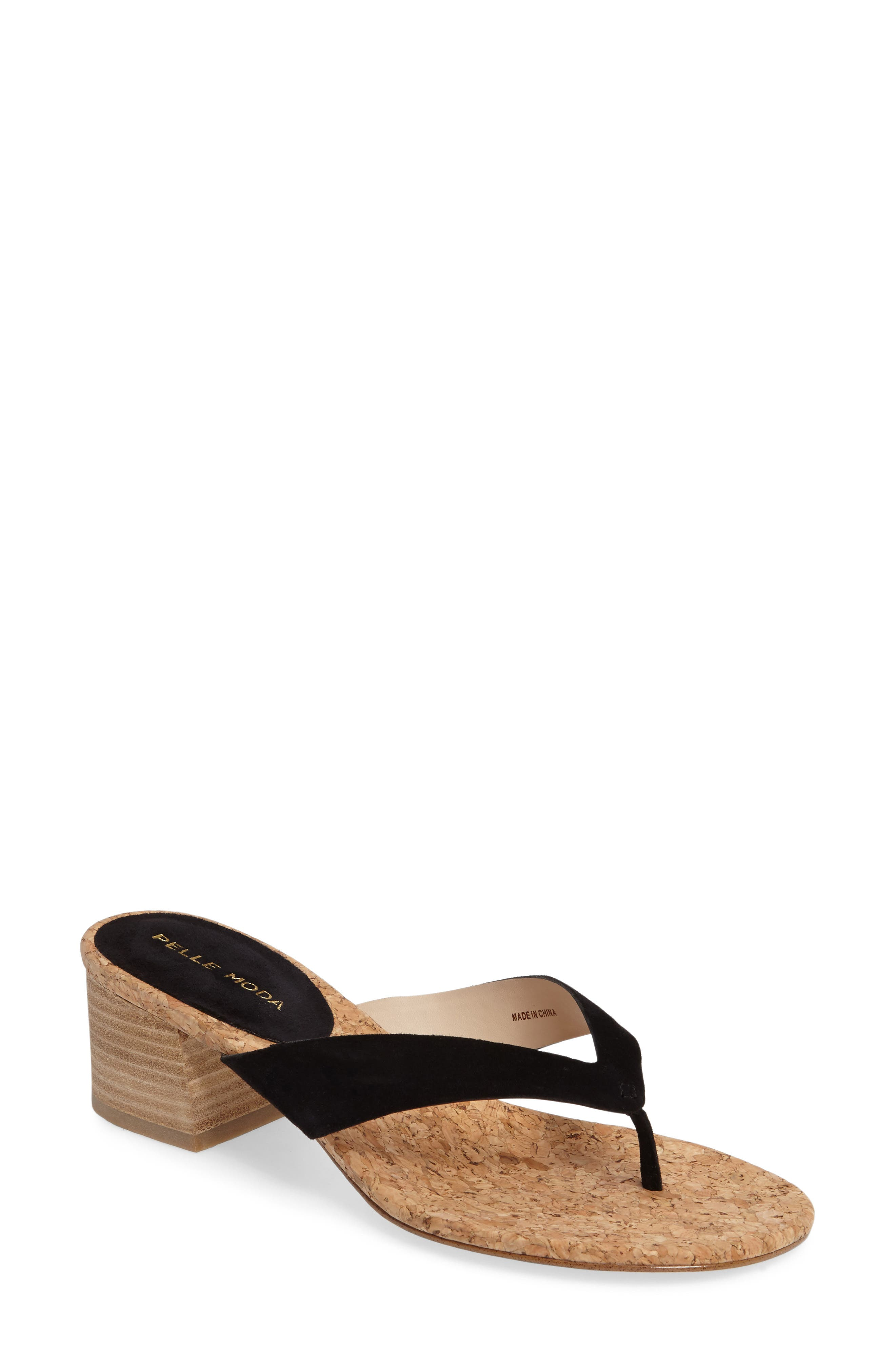 Meryl Sandal,                         Main,                         color, Black Leather