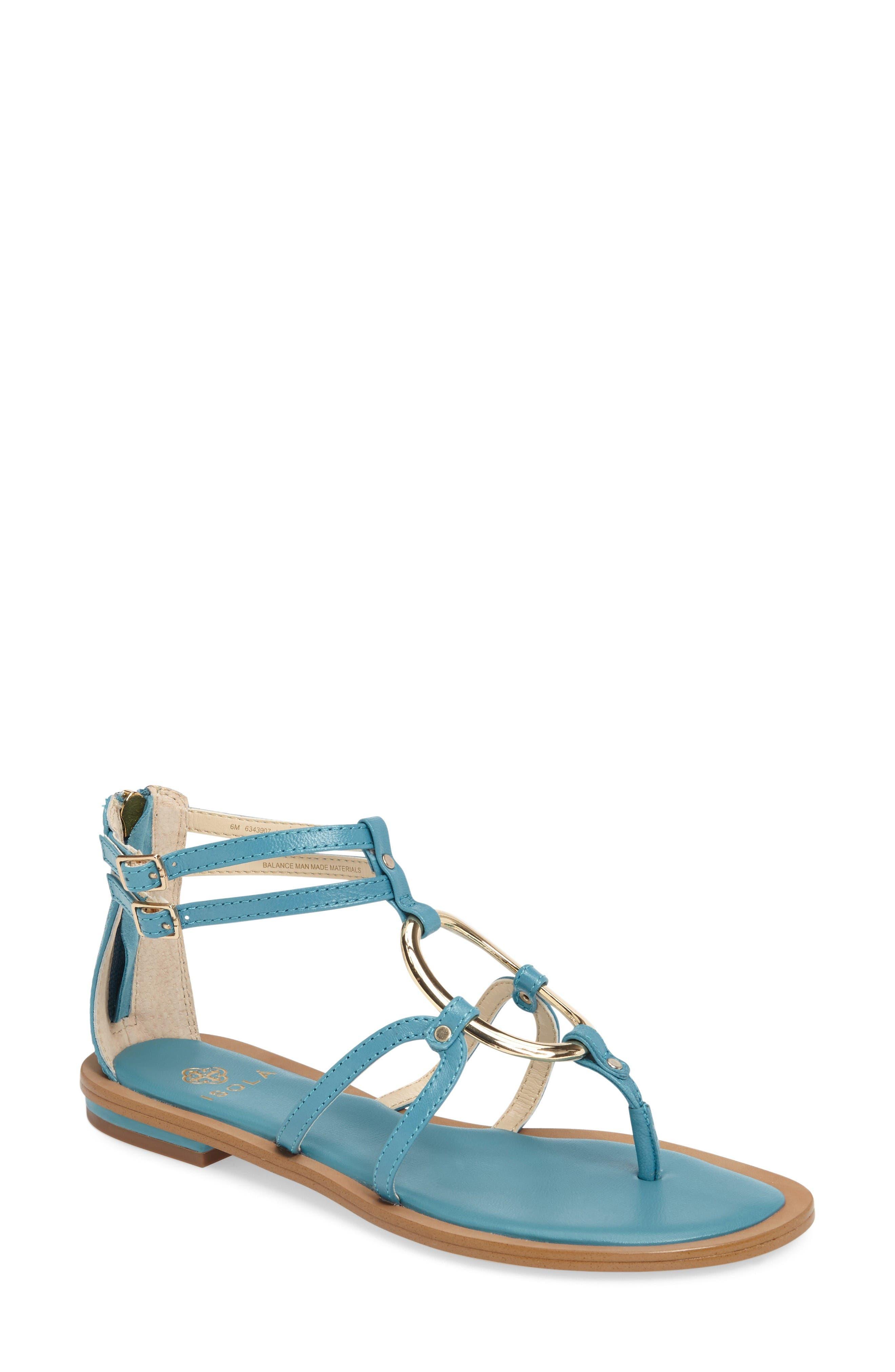 Melaney Sandal,                             Main thumbnail 1, color,                             Aqua Leather