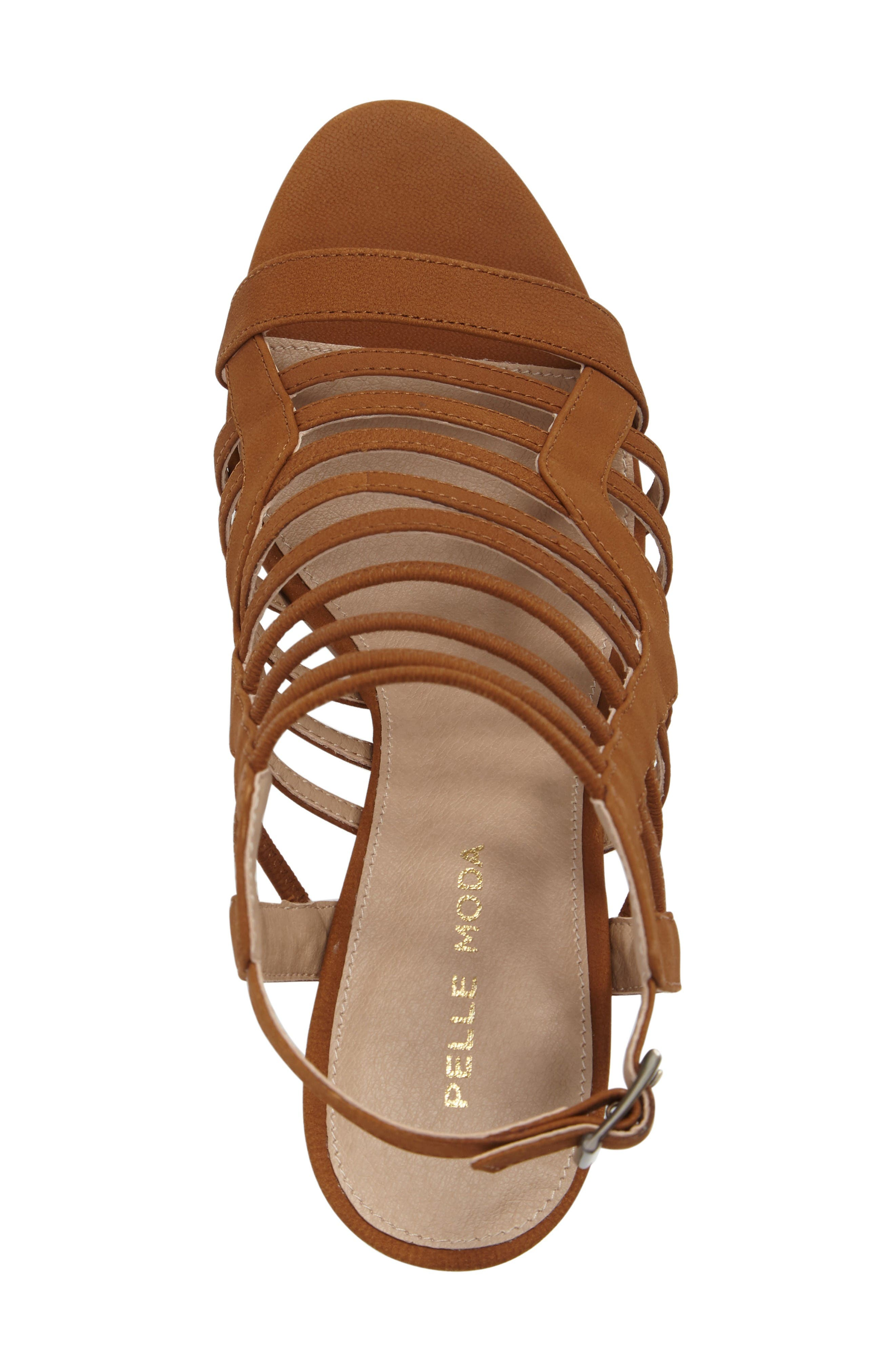 Bonitta Cage Sandal,                             Alternate thumbnail 5, color,                             Luggage Leather