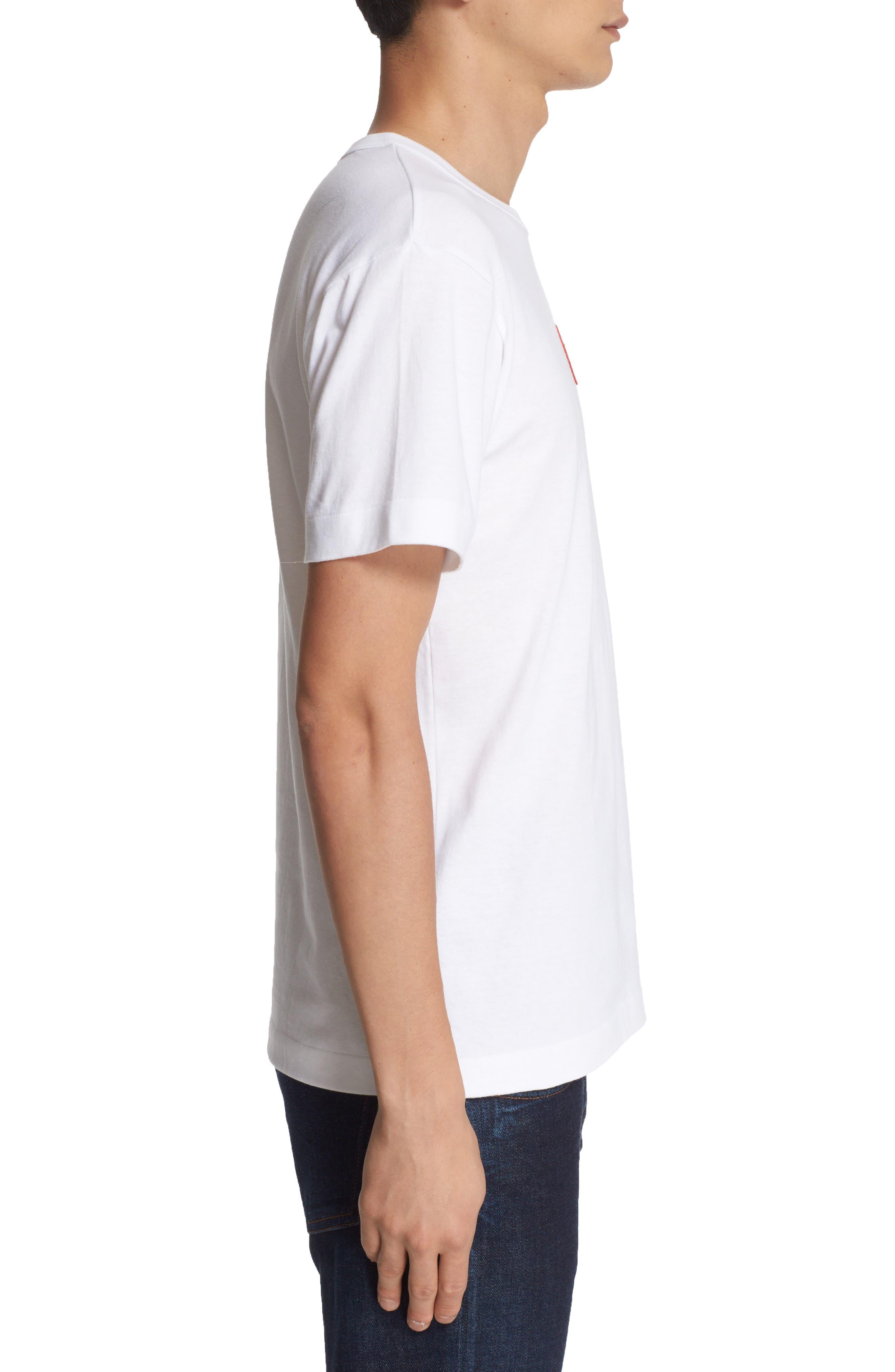Comme des Garçons Play Stretch Face Heart T-Shirt,                             Alternate thumbnail 3, color,                             White