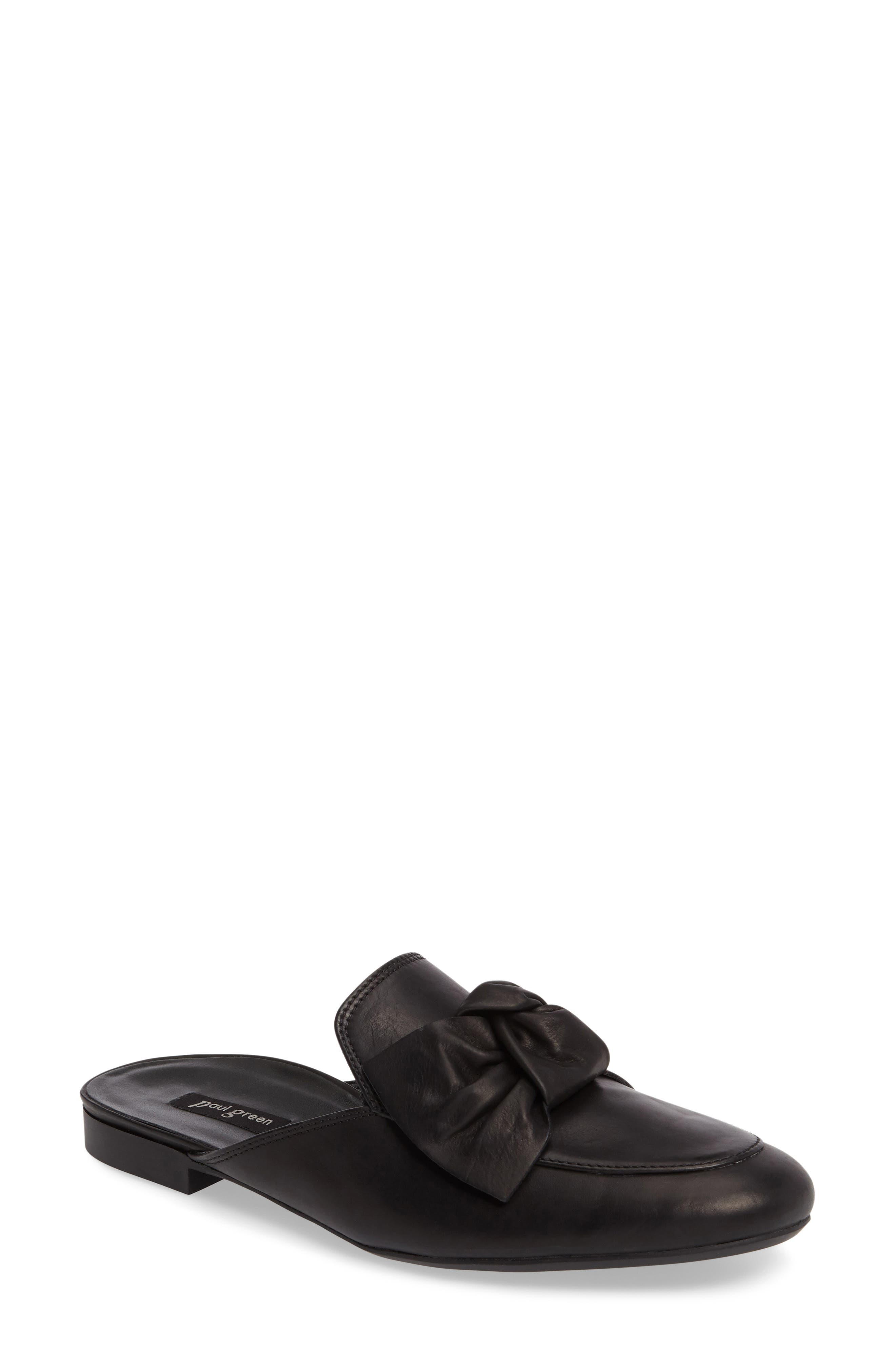Mary Bow Mule Loafer,                             Main thumbnail 1, color,                             Black Leather