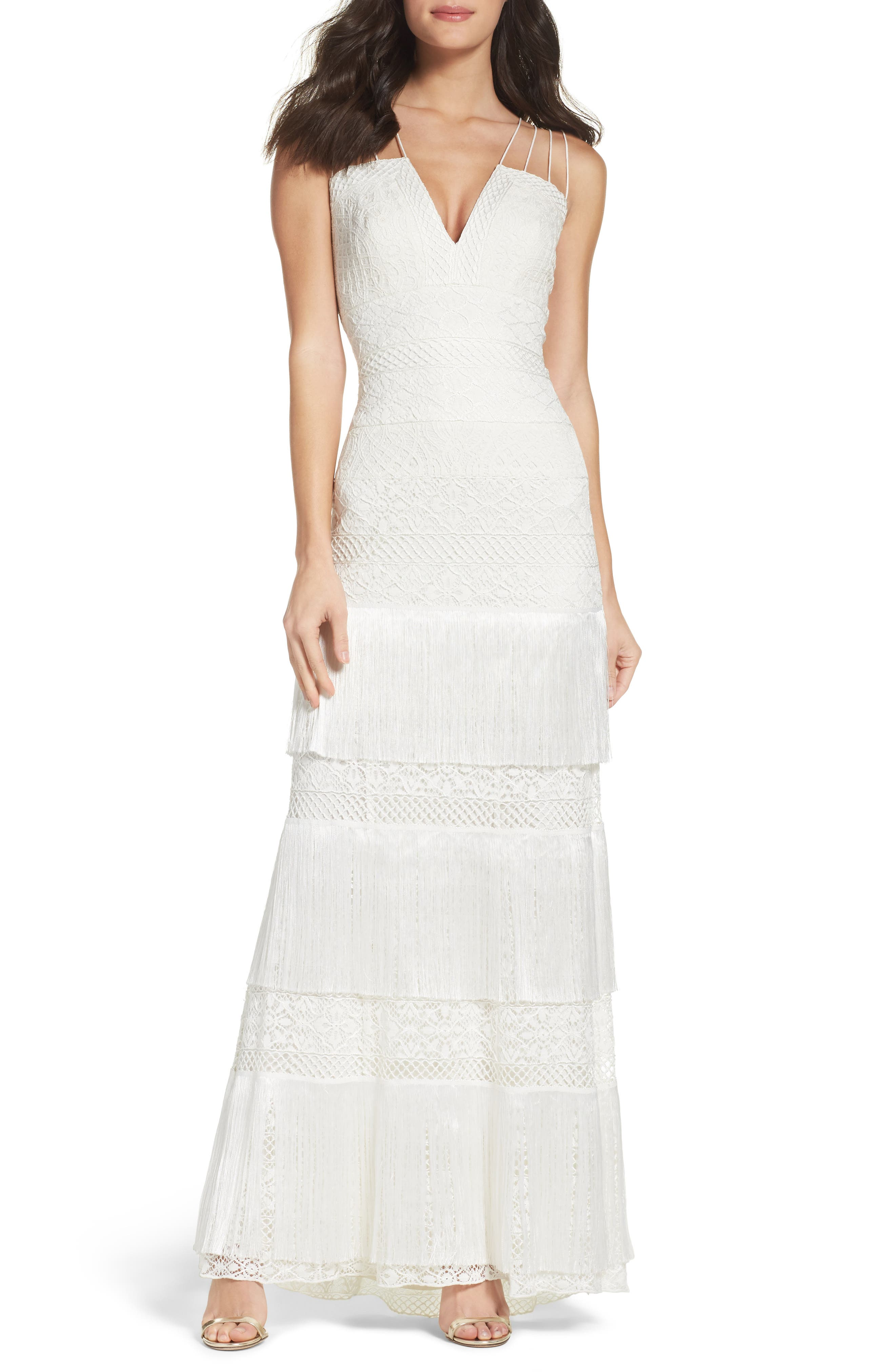 Embroidered Sheath Gown,                         Main,                         color, Ivory