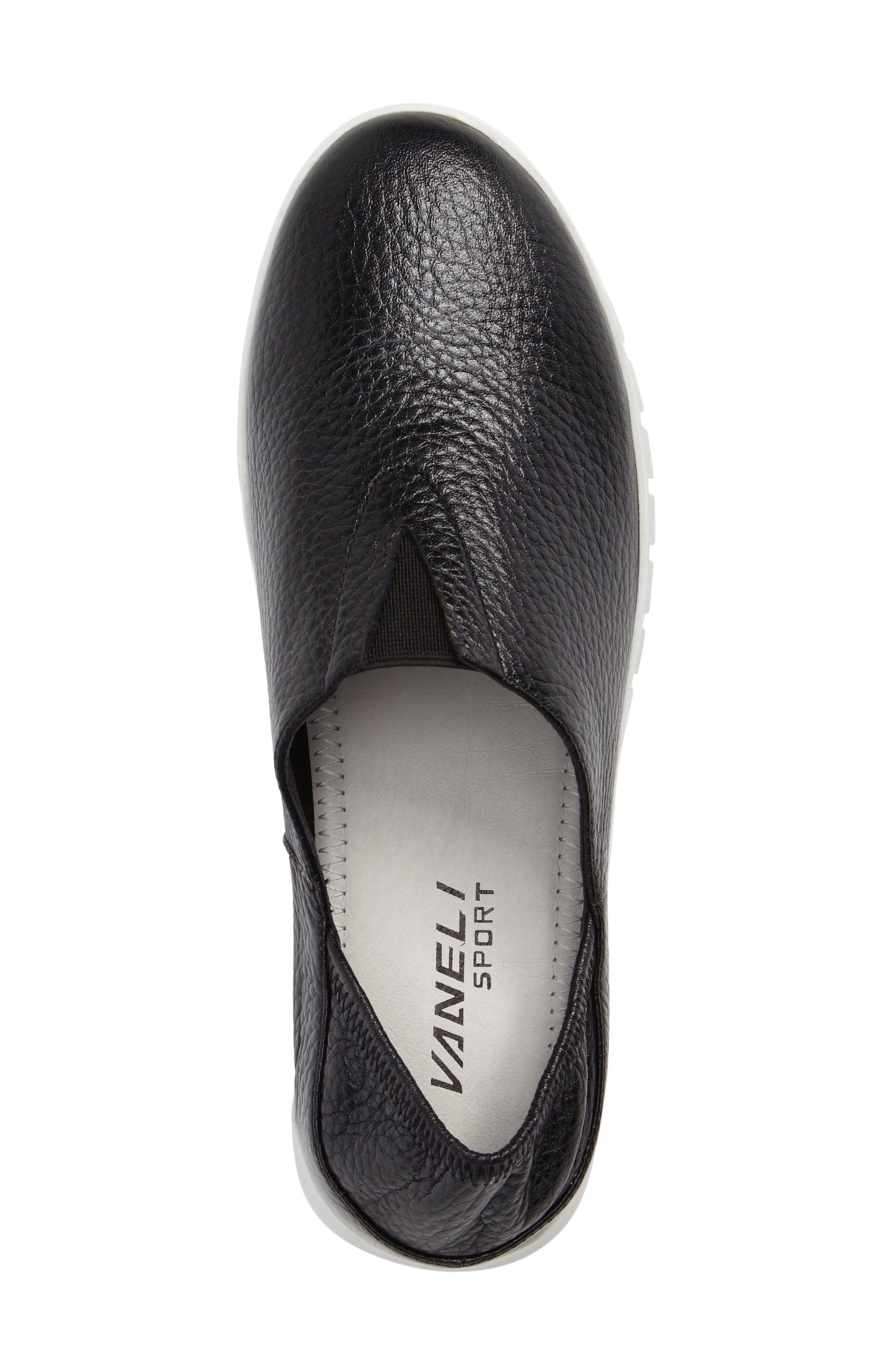 Kim Slip-On Sneaker,                             Alternate thumbnail 5, color,                             Black Leather