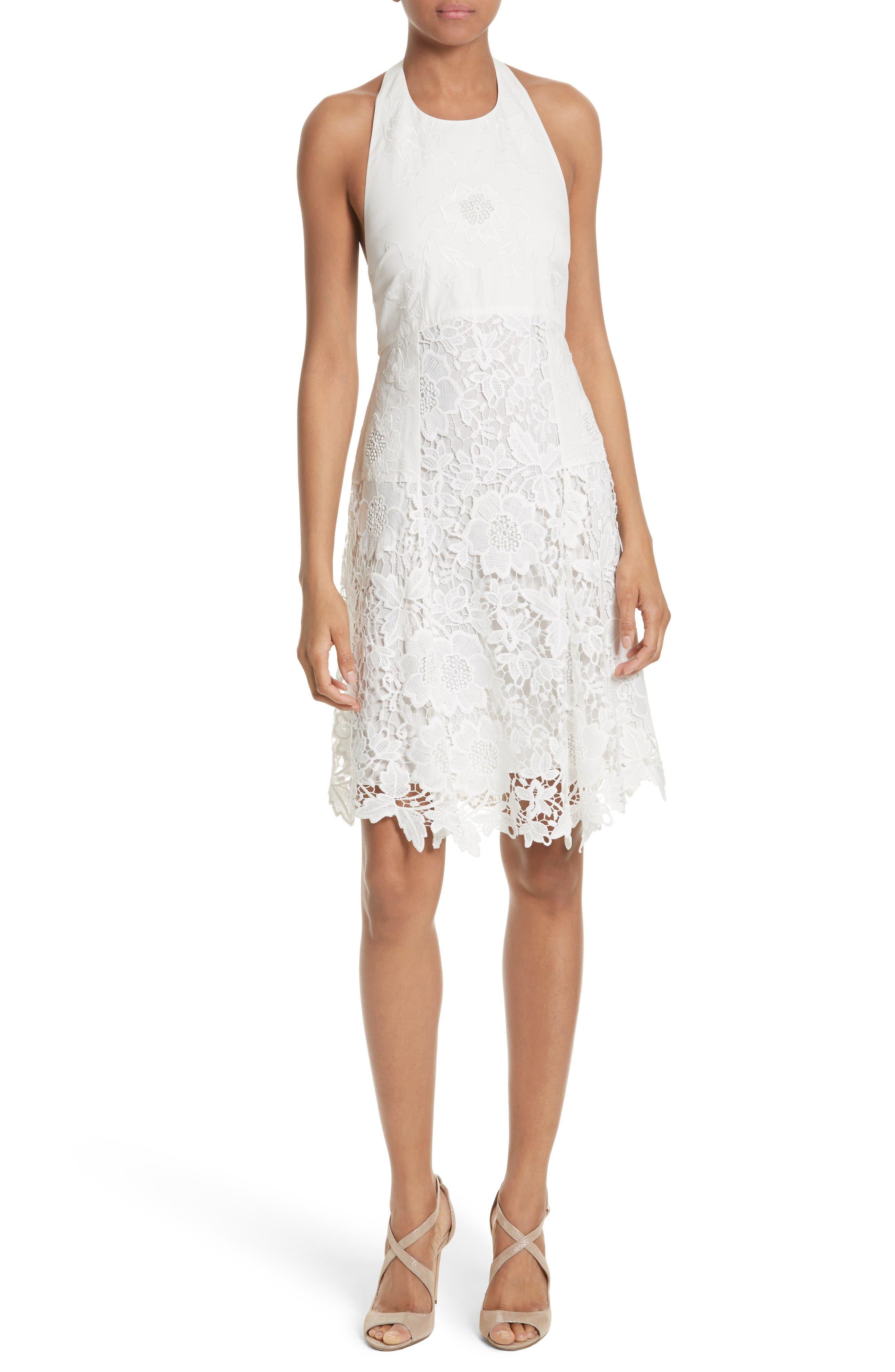 Alice + Olivia Susan Lace Halter Dress