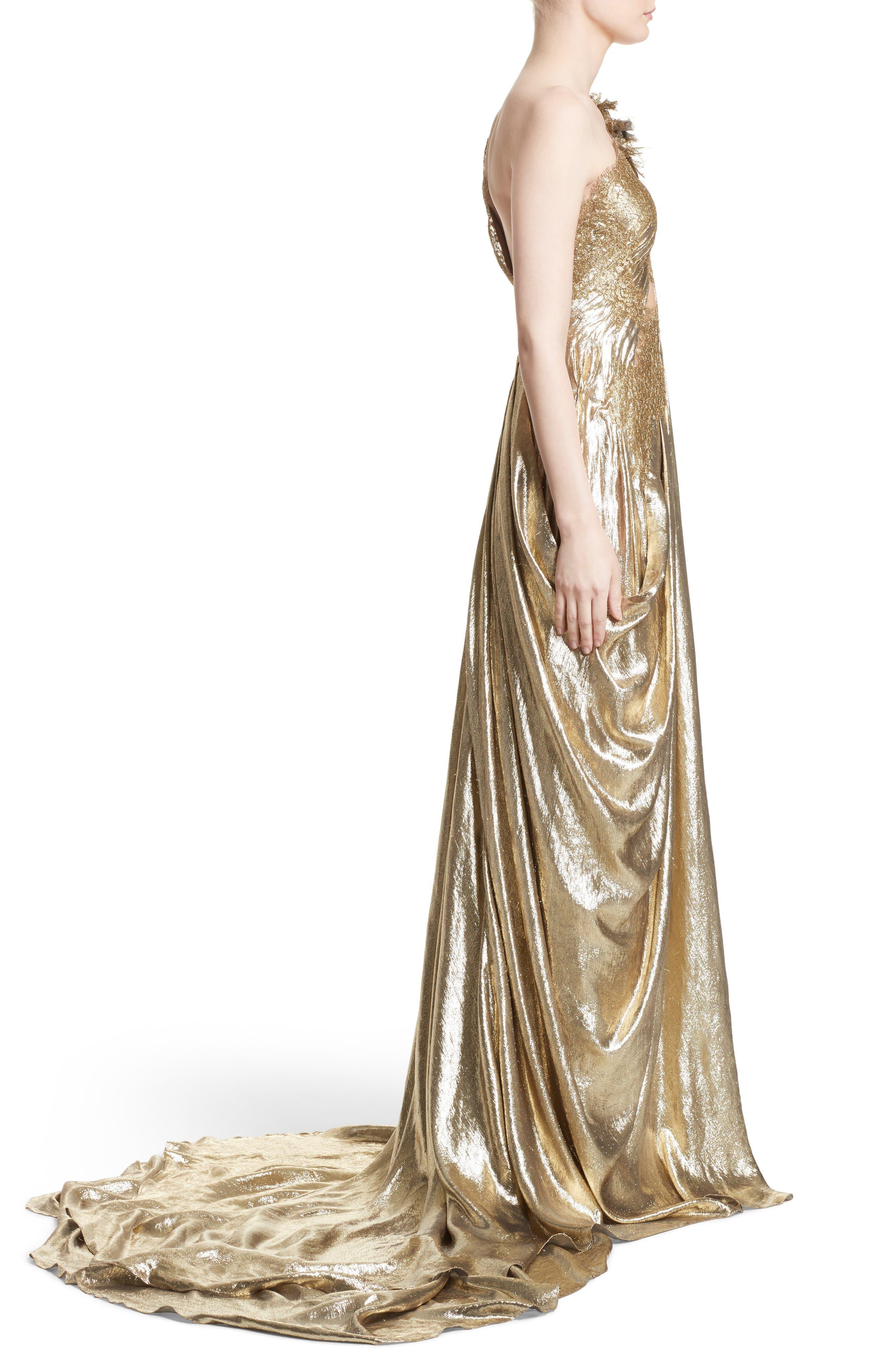 Alternate Image 4  - Marchesa Metallic Lace & Lamé One-Shoulder Gown