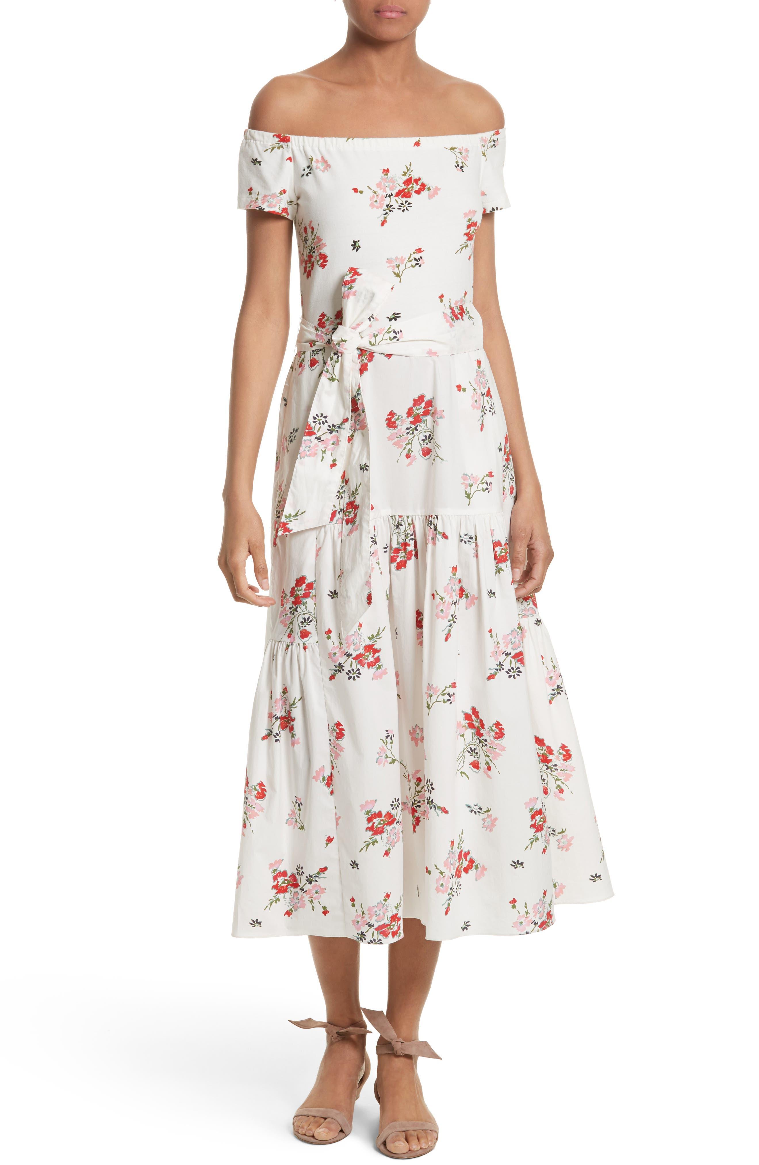 Marguerite Floral Off the Shoulder Midi Dress,                         Main,                         color, Snow