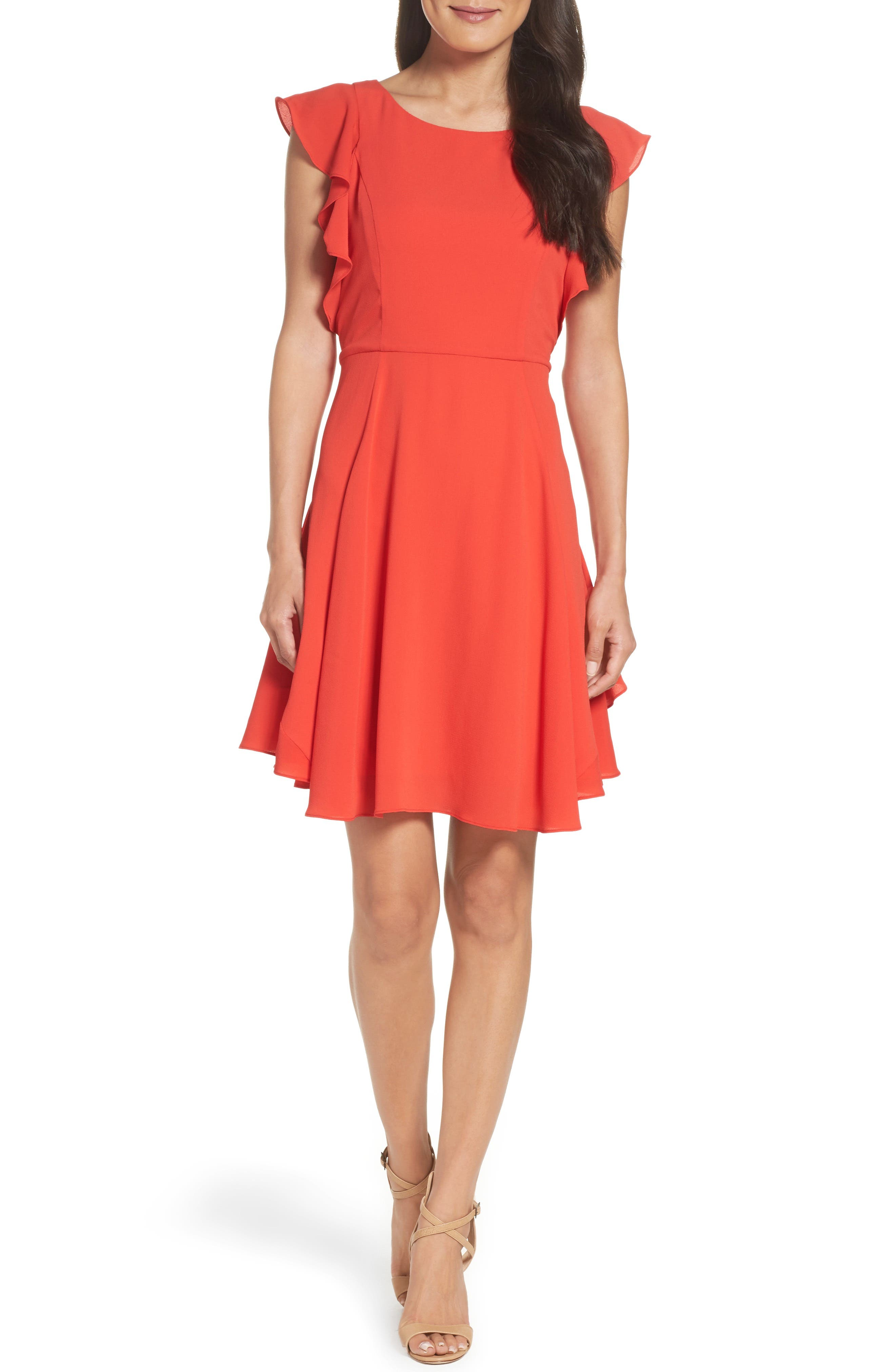 Ruffle Fit & Flare Dress,                         Main,                         color, Raspberry