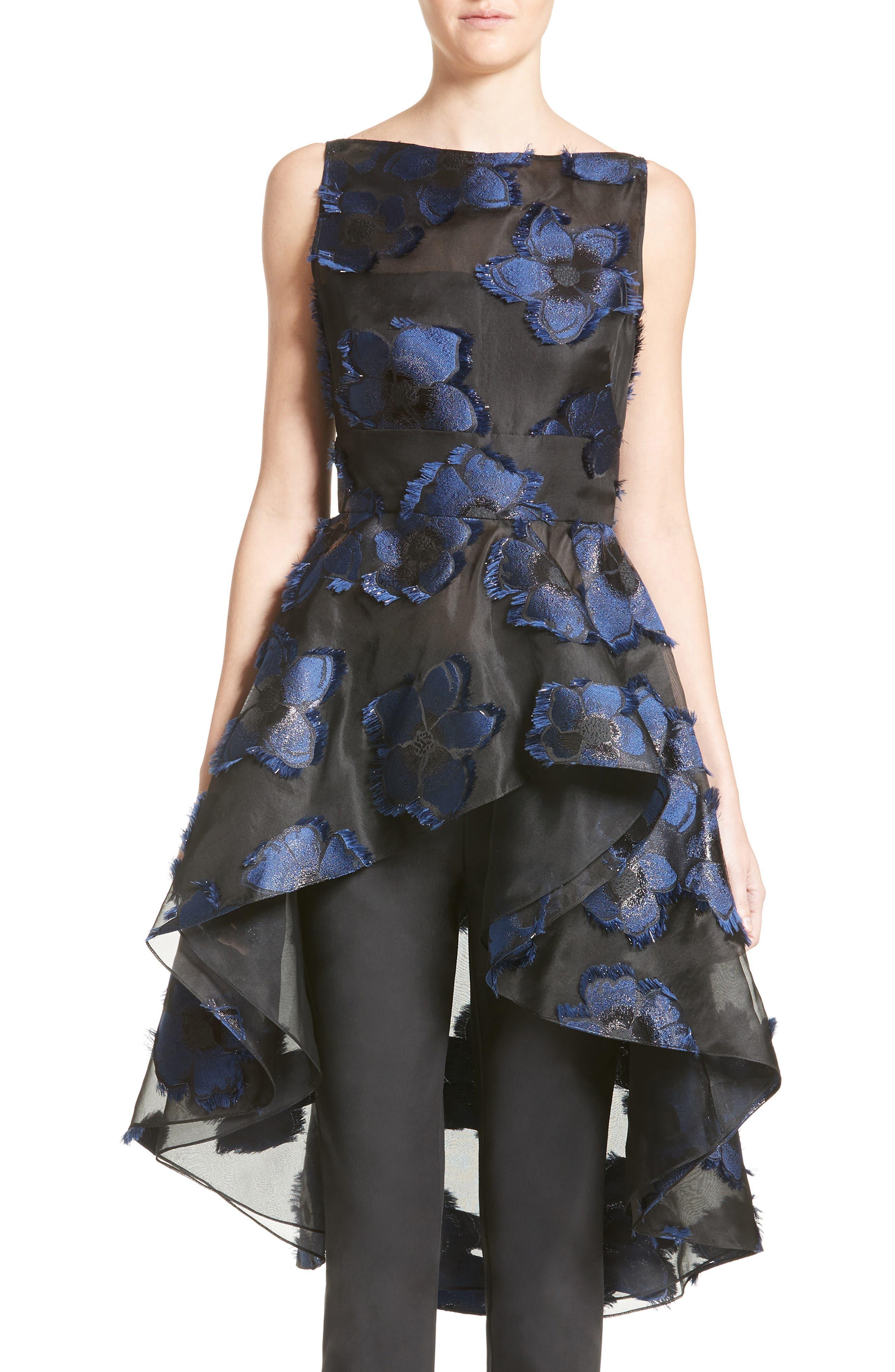 Alternate Image 1 Selected - Lela Rose Metallic Floral Fil Coupé Top