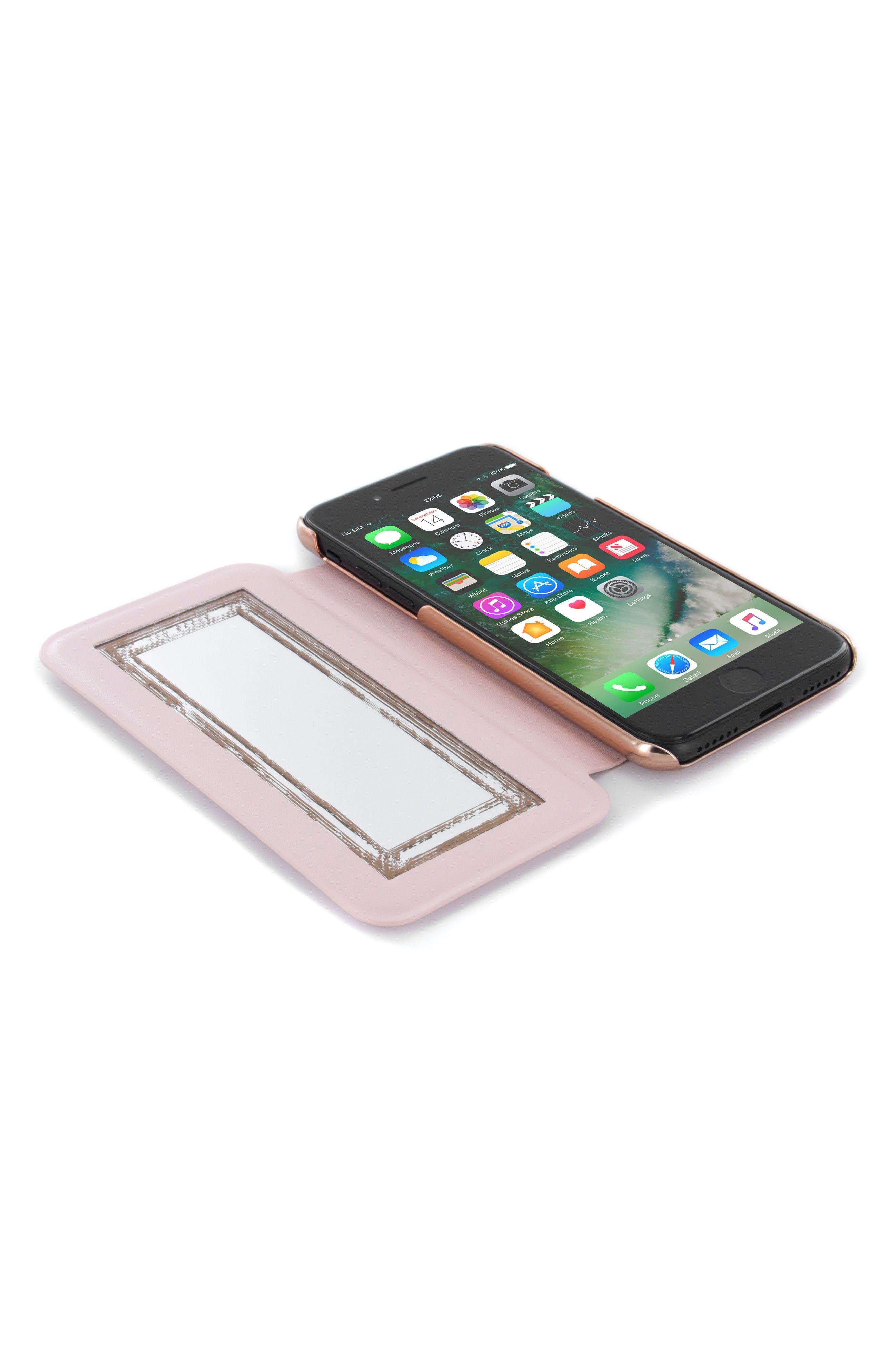 Shannon iPhone 6/6s/7/8 & 6/6s/7/8 Plus Mirror Folio Case,                             Alternate thumbnail 3, color,                             Light Pink