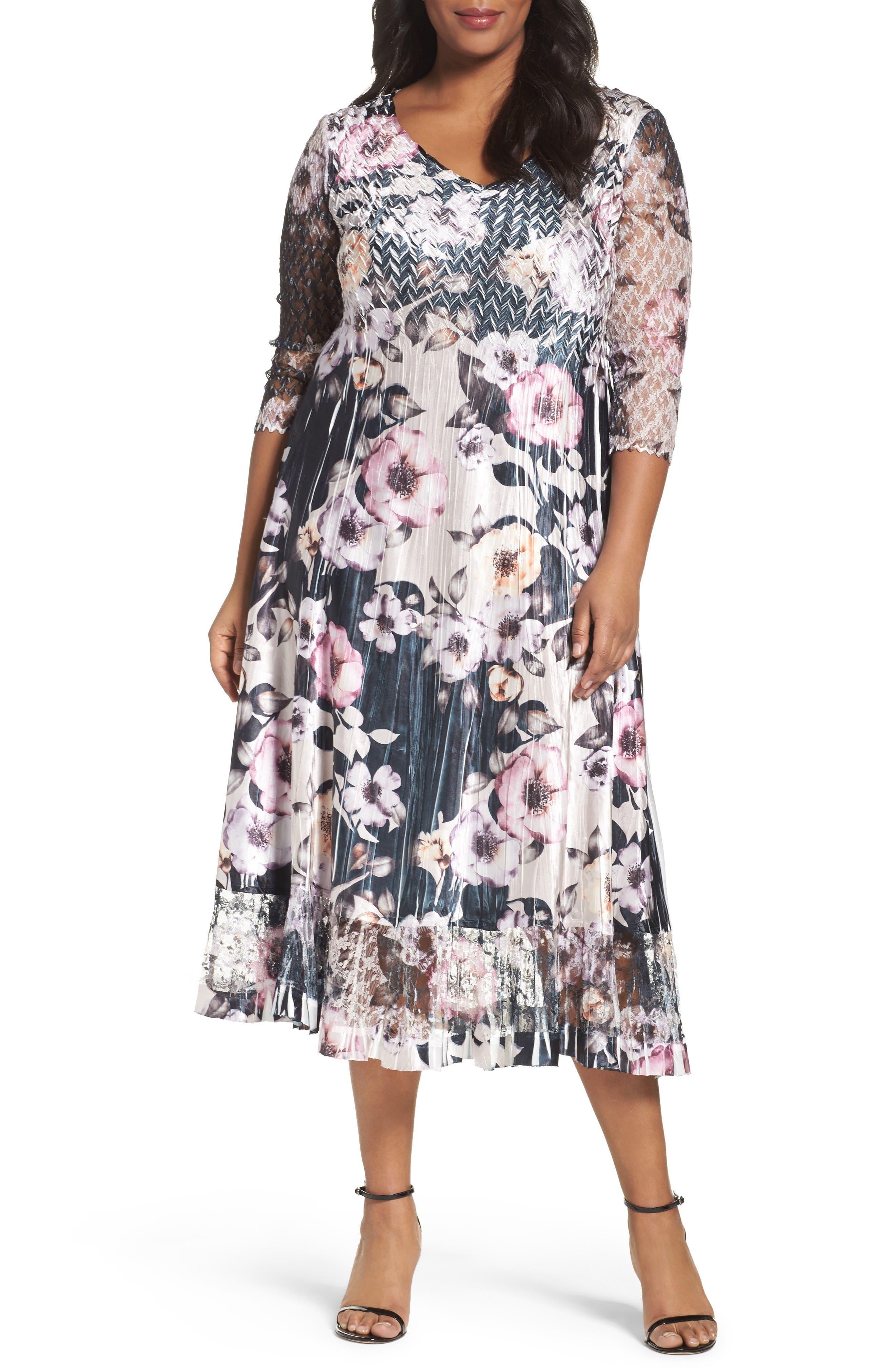 Print Lace & Charmeuse Dress,                         Main,                         color, Velvet Night