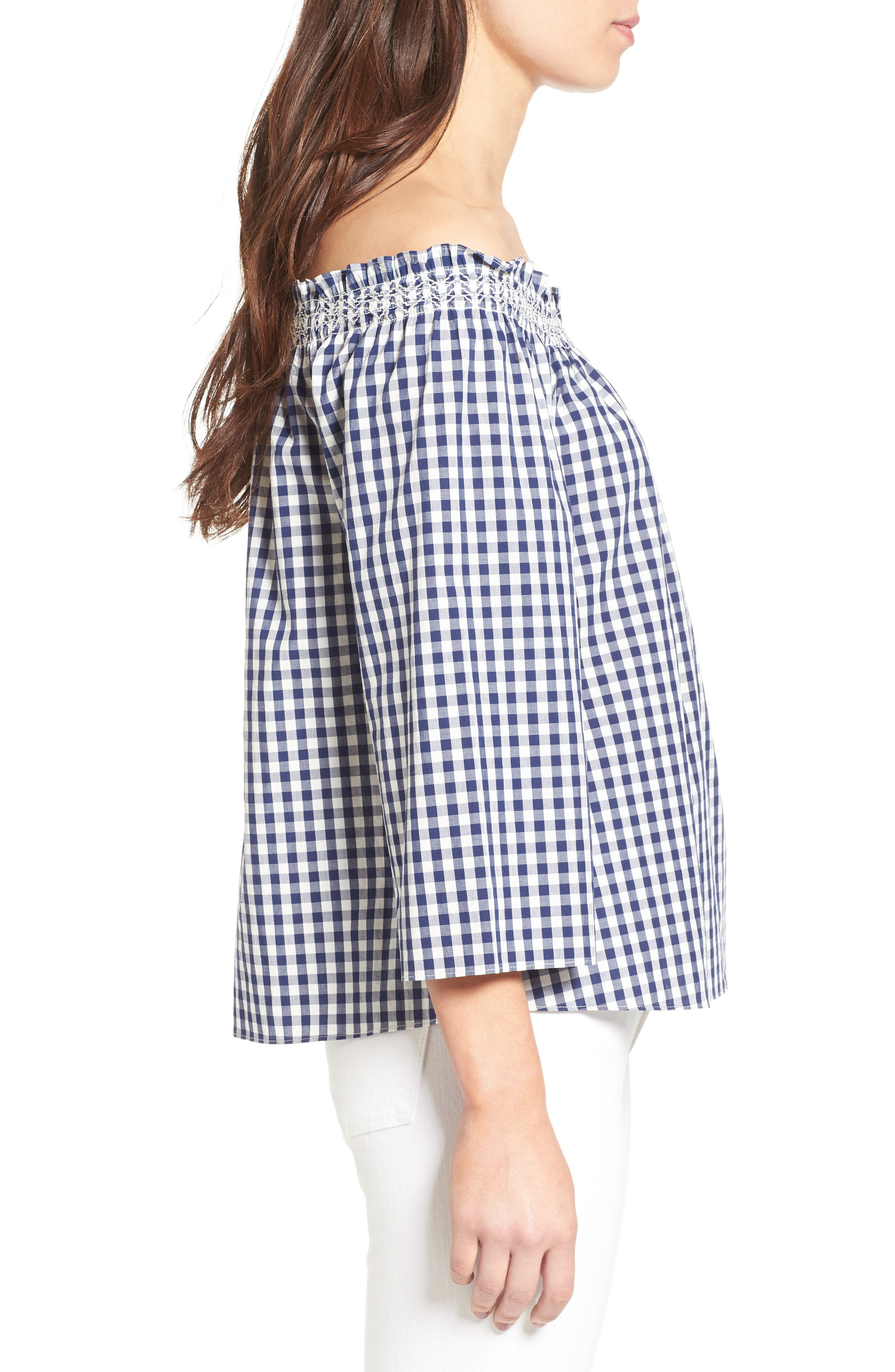 Smocked Gingham Off the Shoulder Top,                             Alternate thumbnail 3, color,                             Moonless Night