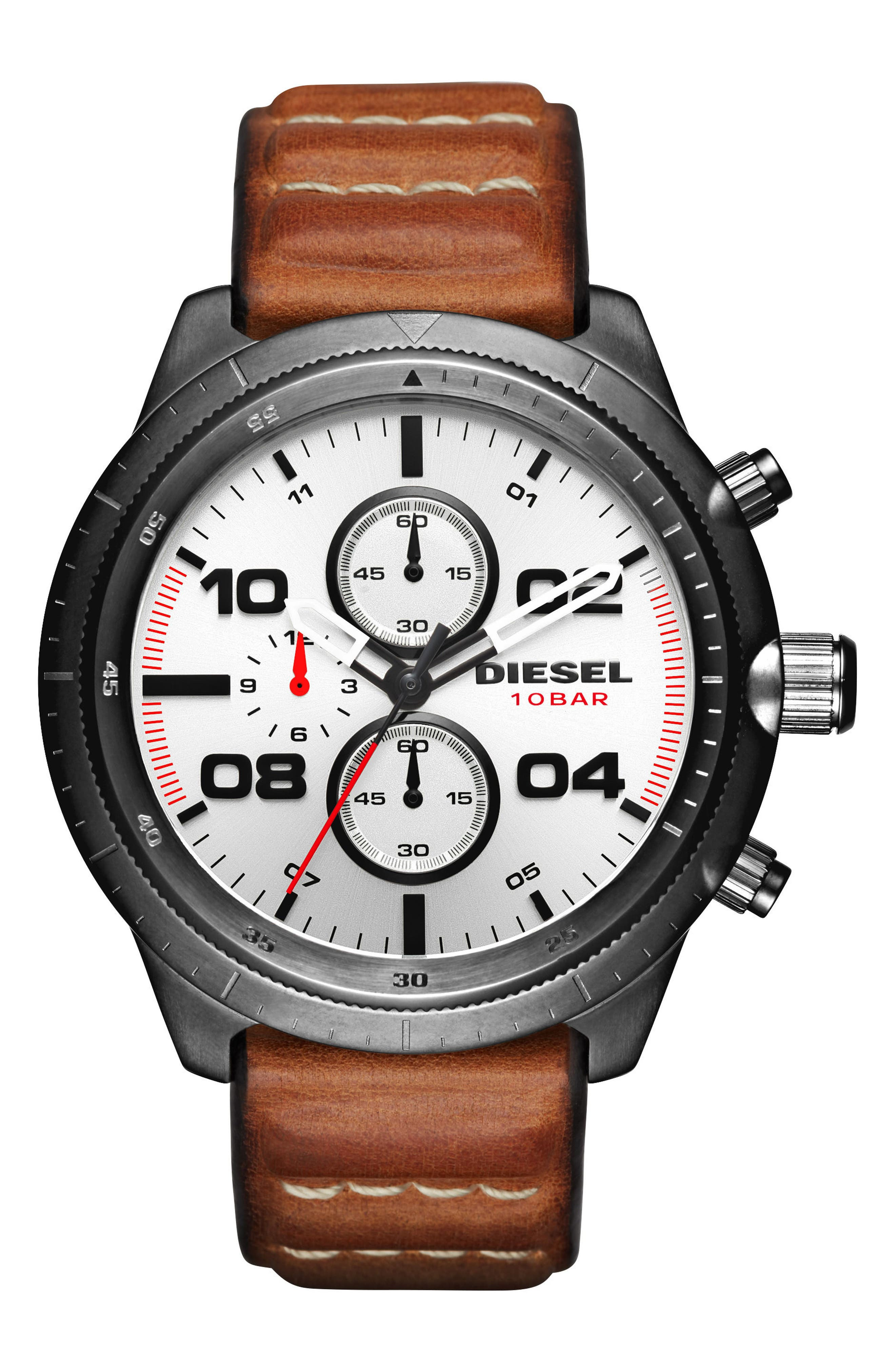 DIESEL® Padlock Chronograph Leather Strap Watch, 50mm