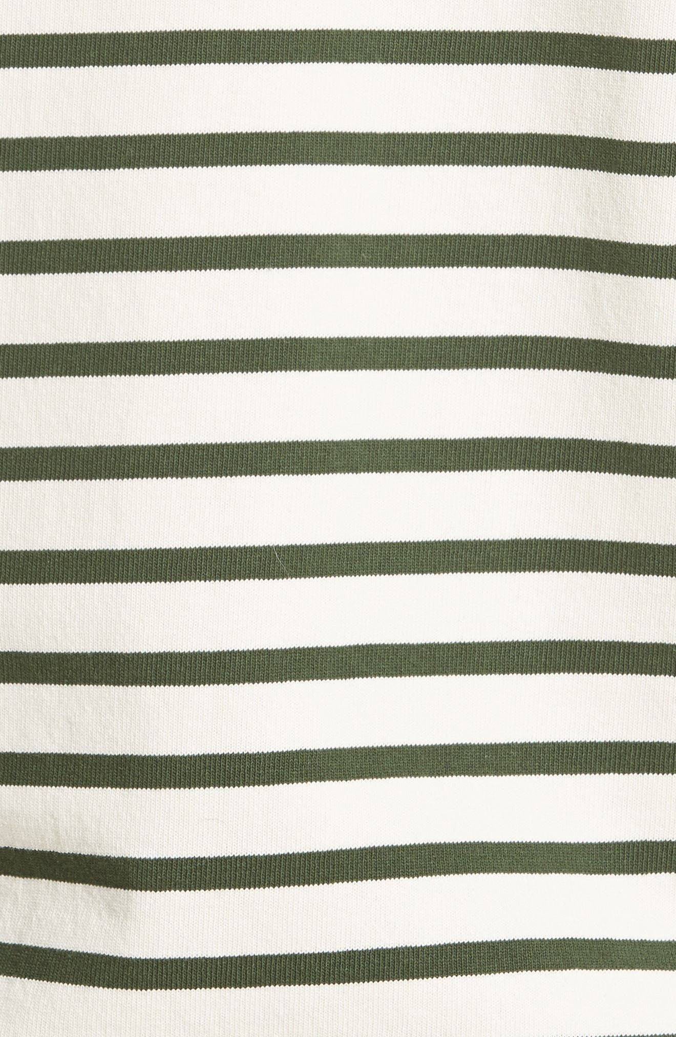 Stripe T-Shirt,                             Alternate thumbnail 5, color,                             Ecru/Forest Green