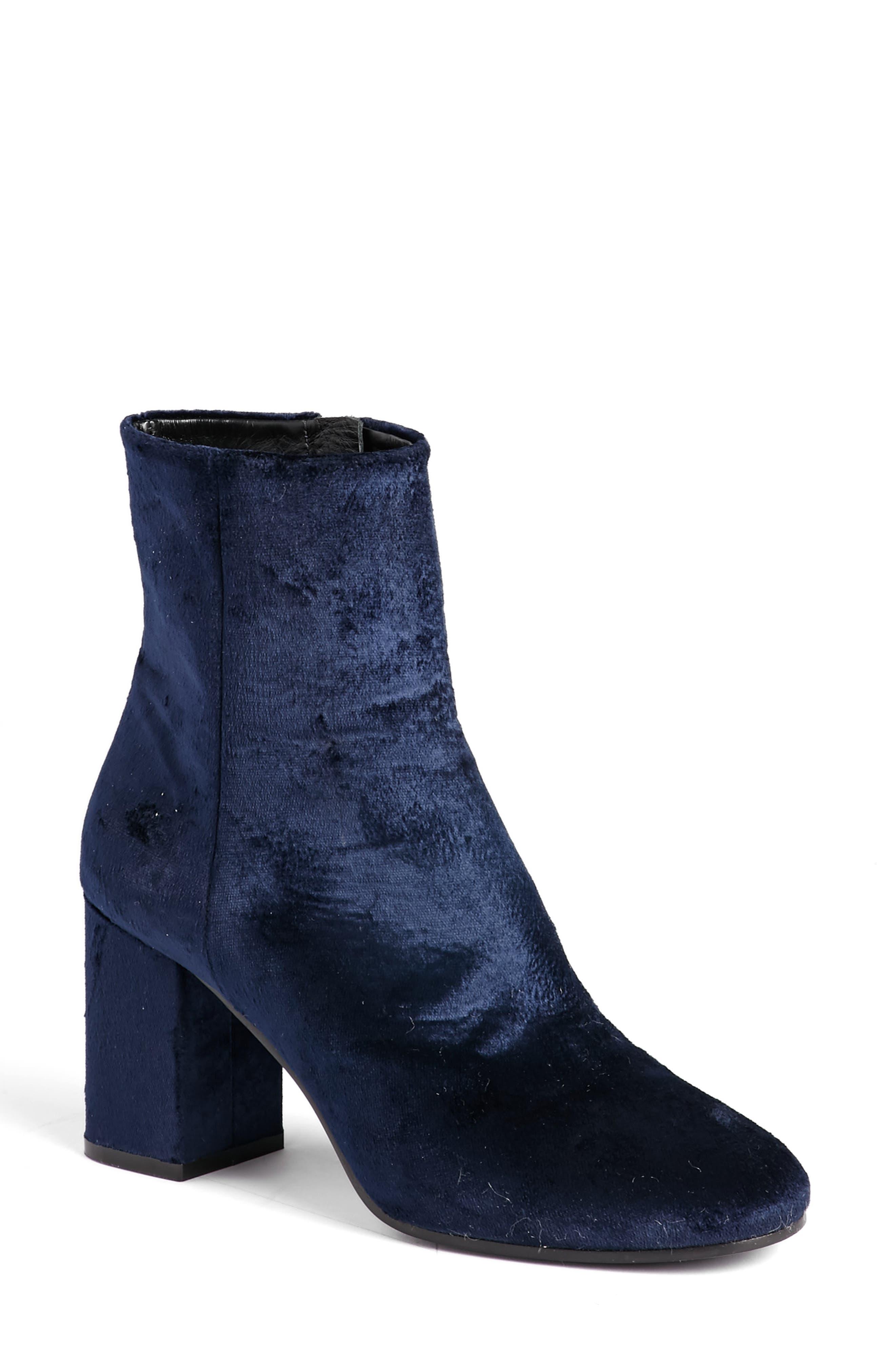 Block Heel Bootie,                         Main,                         color, Navy Suede
