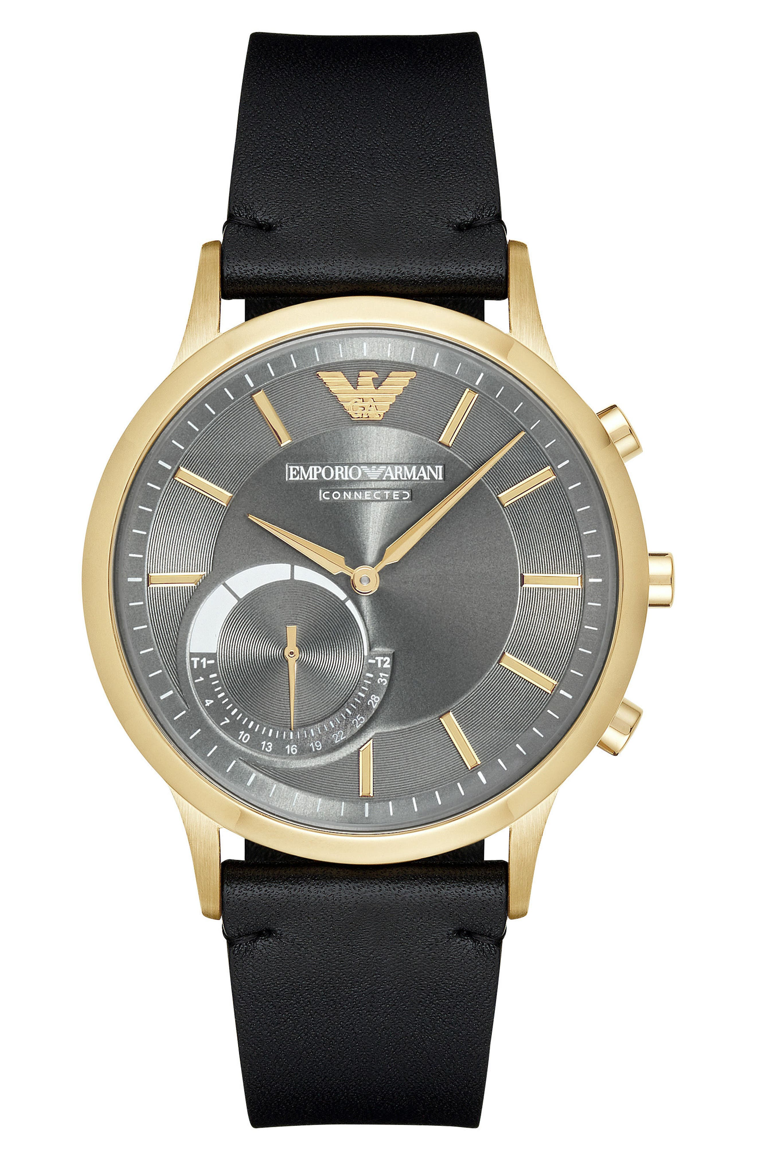 Alternate Image 1 Selected - Emporio Armani Leather Strap Hybrid Smart Watch, 43mm