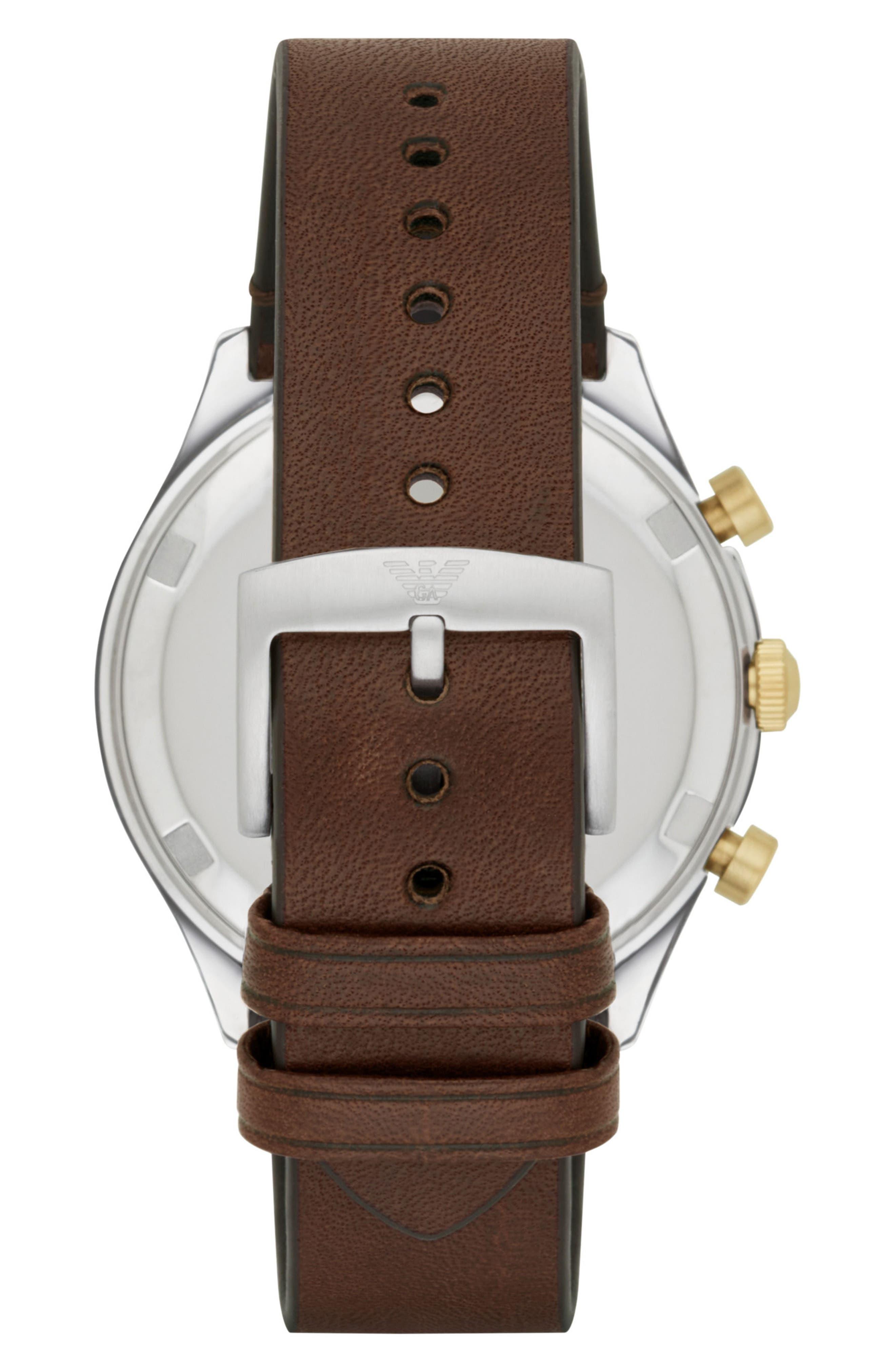 Alternate Image 2  - Emporio Armani Chronograph Leather Strap Watch, 44mm