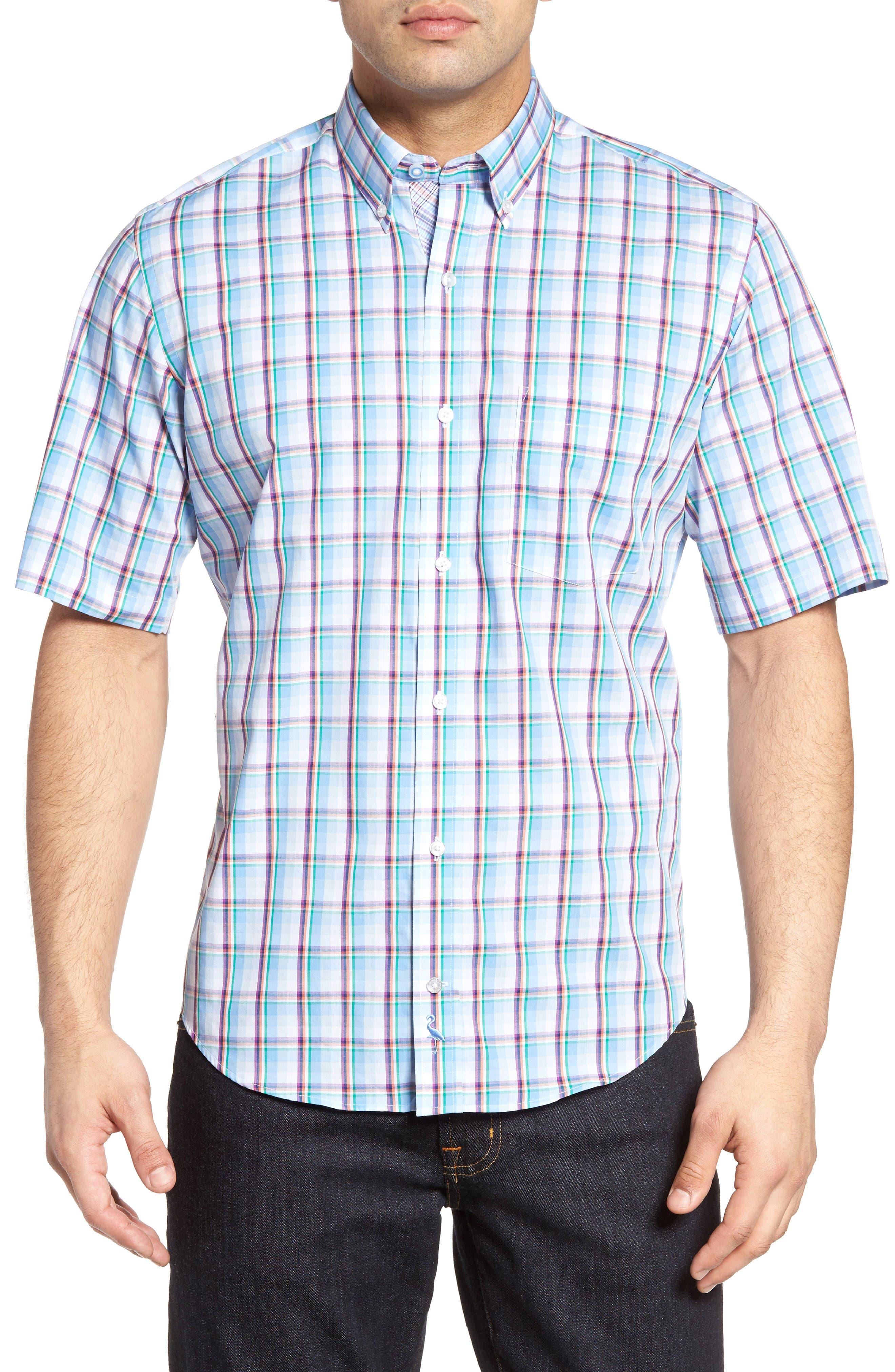 Pinyon Plaid Sport Shirt,                         Main,                         color, French Blue