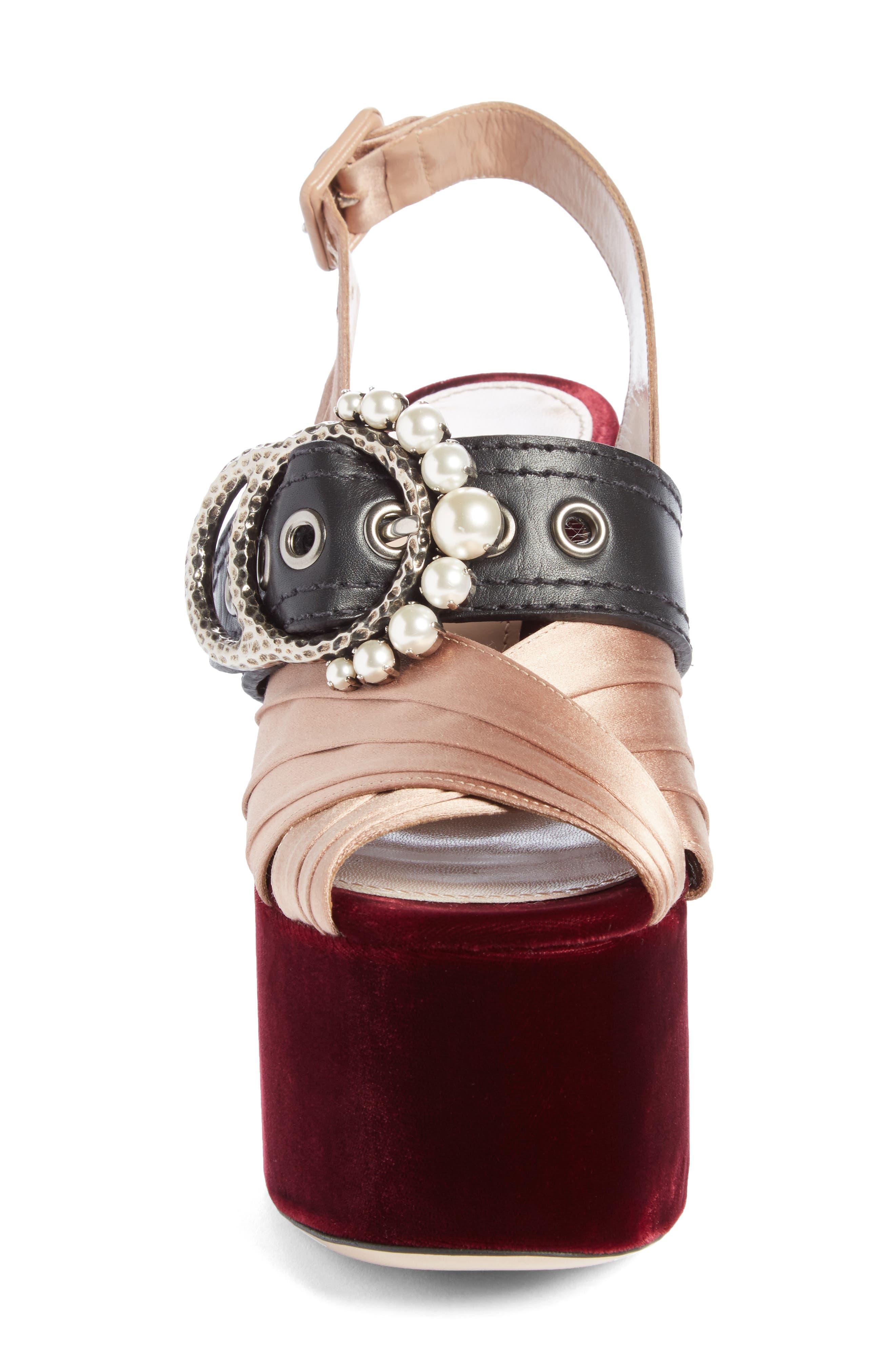 Alternate Image 3  - Miu Miu Imitation Pearl Slingback Platform Sandal (Women)