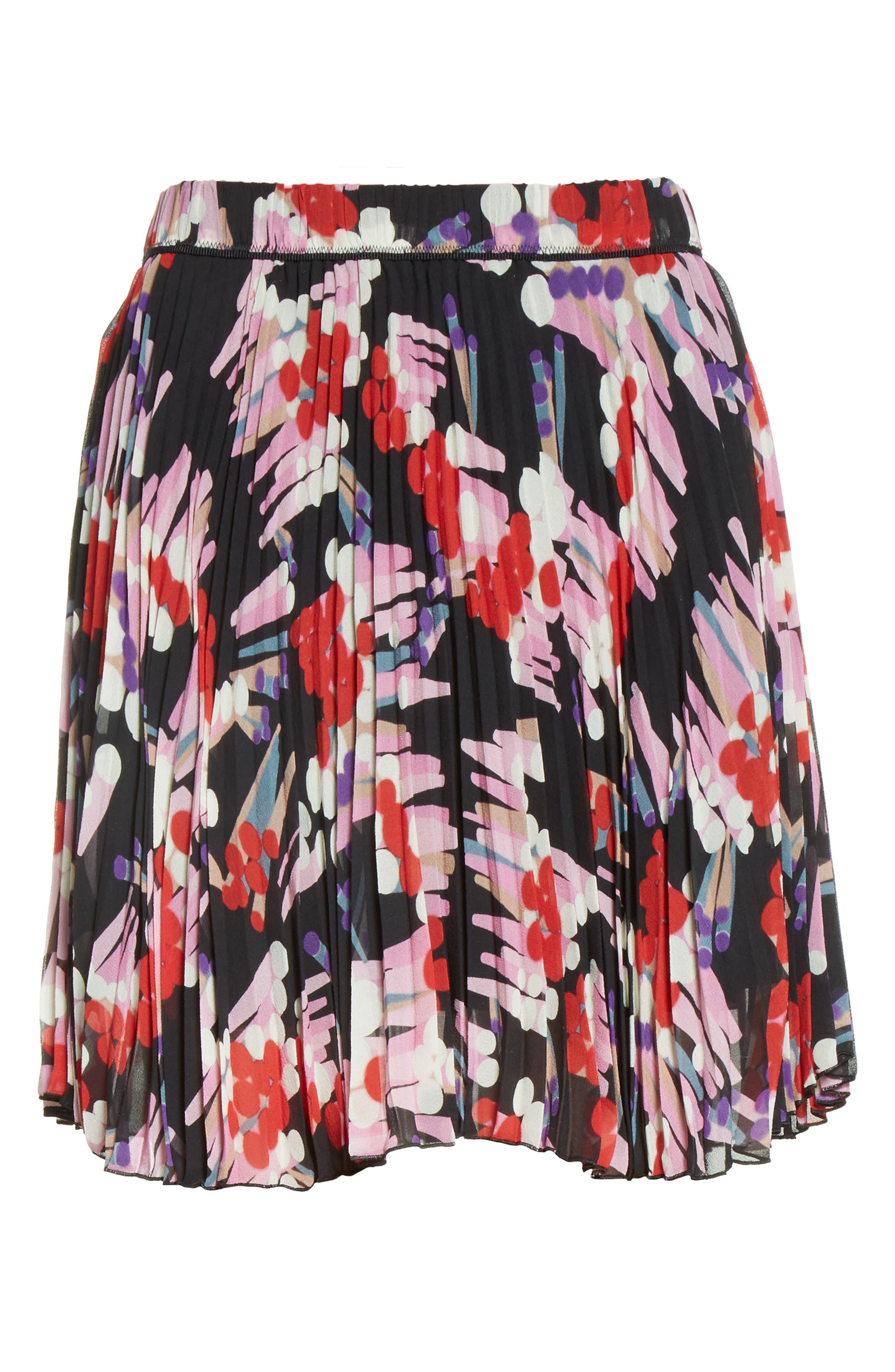 Pleated Print Silk Skirt,                             Alternate thumbnail 4, color,                             Black Multi