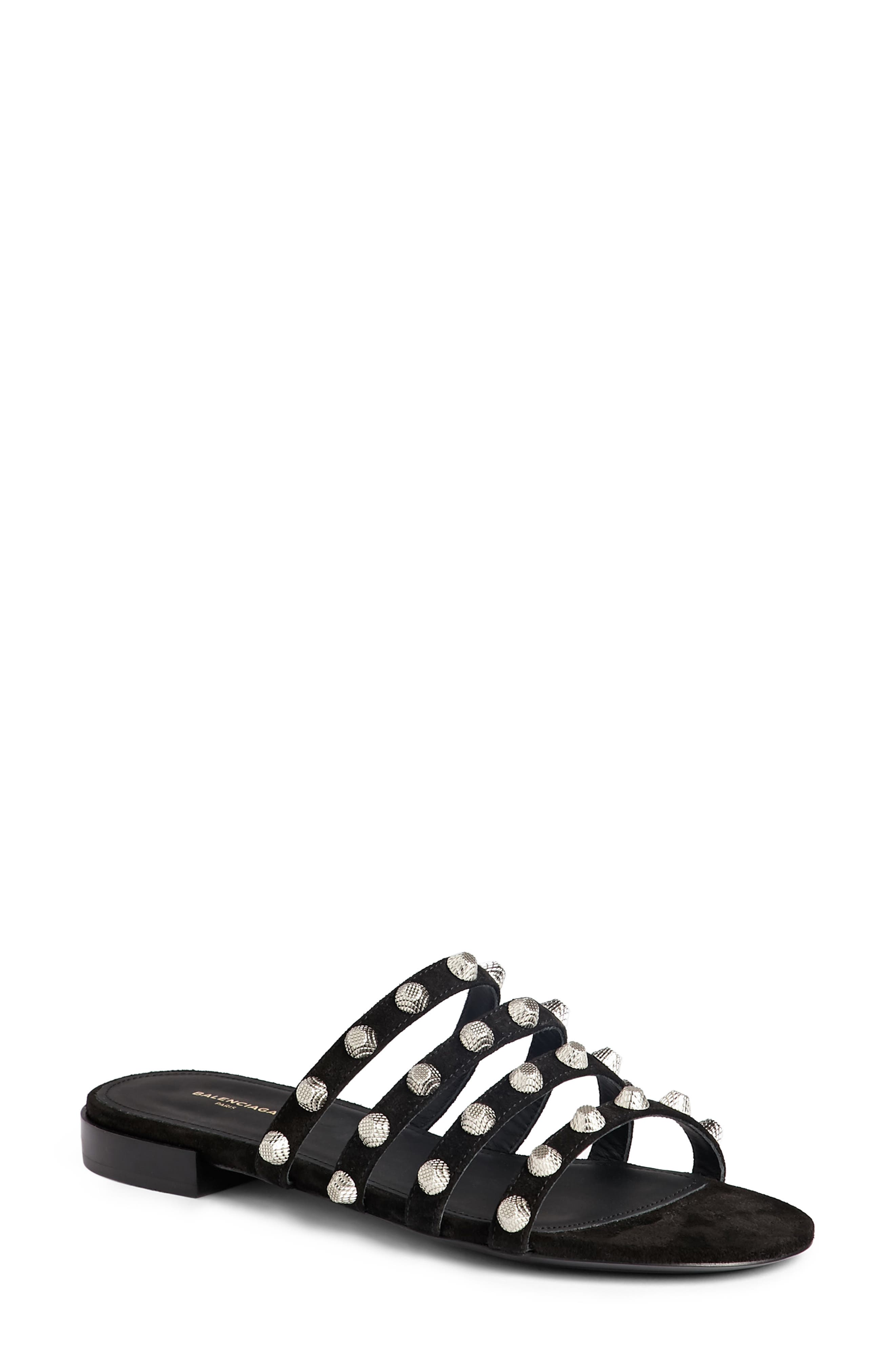 Studded Slide Sandal,                         Main,                         color, Black