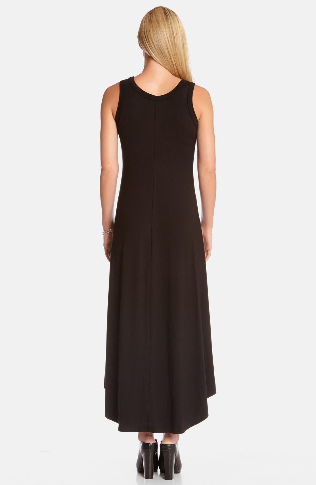 High/Low Sleeveless Maxi Dress,                             Alternate thumbnail 2, color,                             Black
