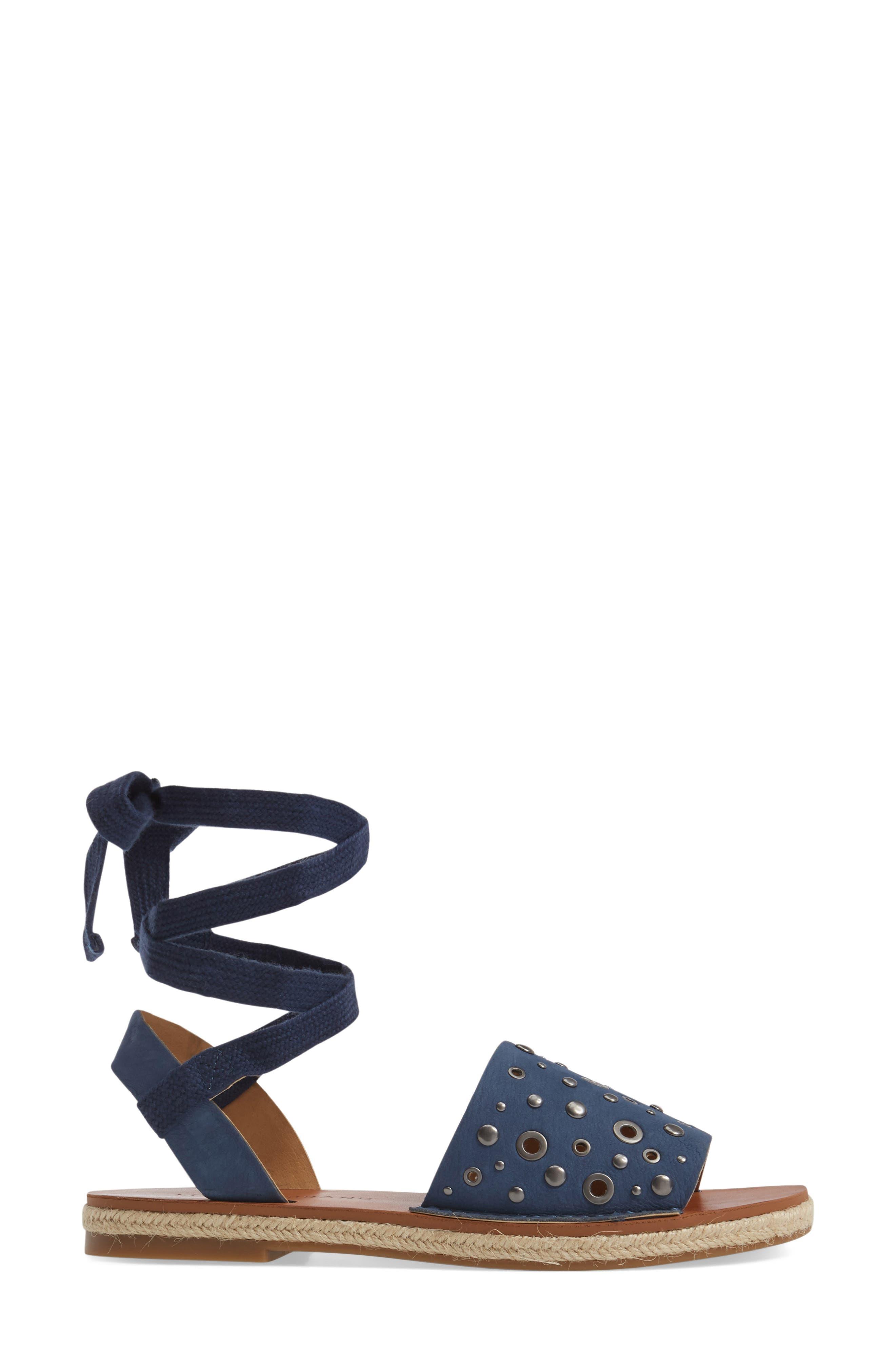 Daytah Ankle Tie Sandal,                             Alternate thumbnail 3, color,                             Dark Chambray
