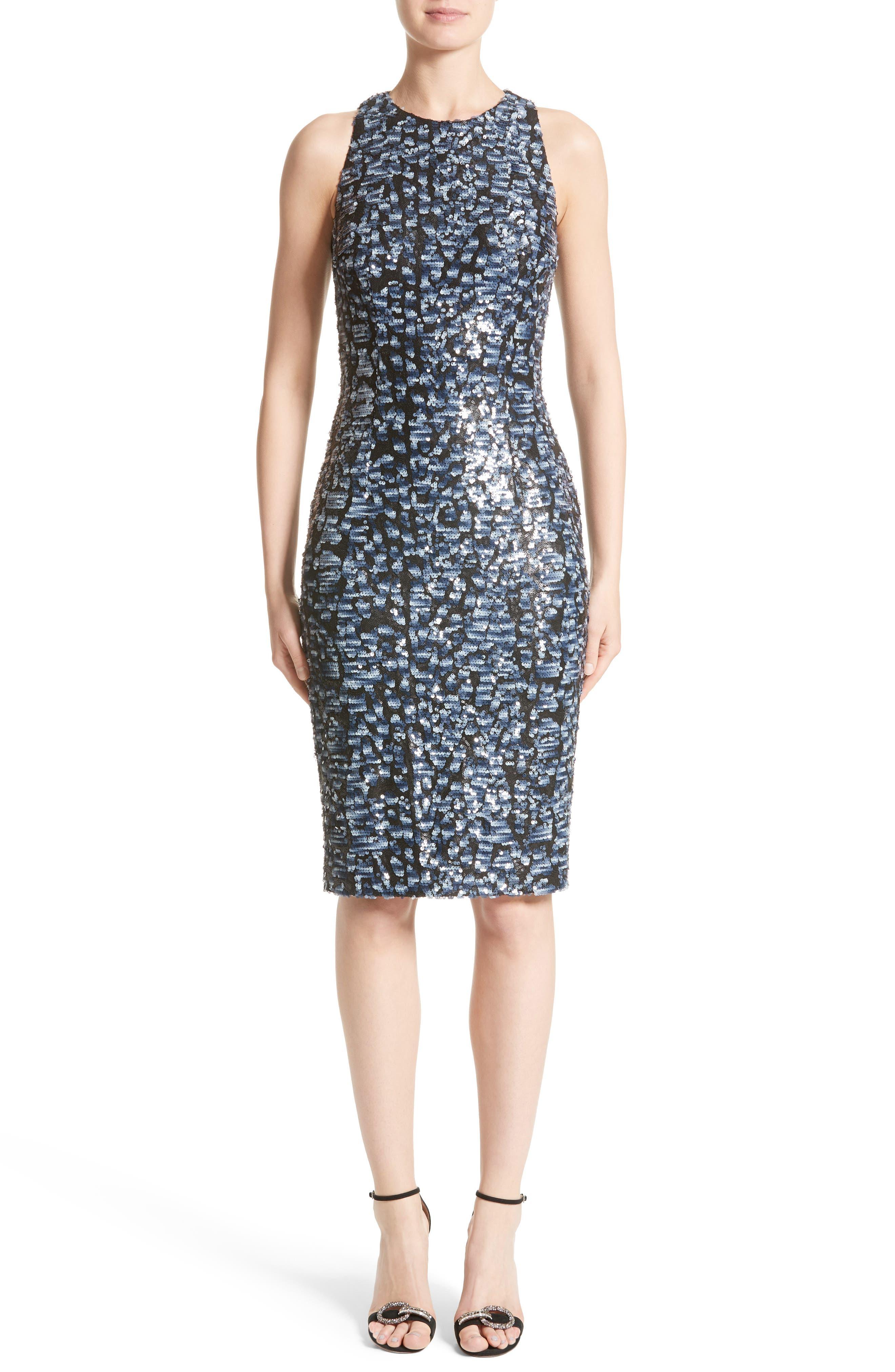 Carmen Marc Valvo Couture Sequin Sheath Dress