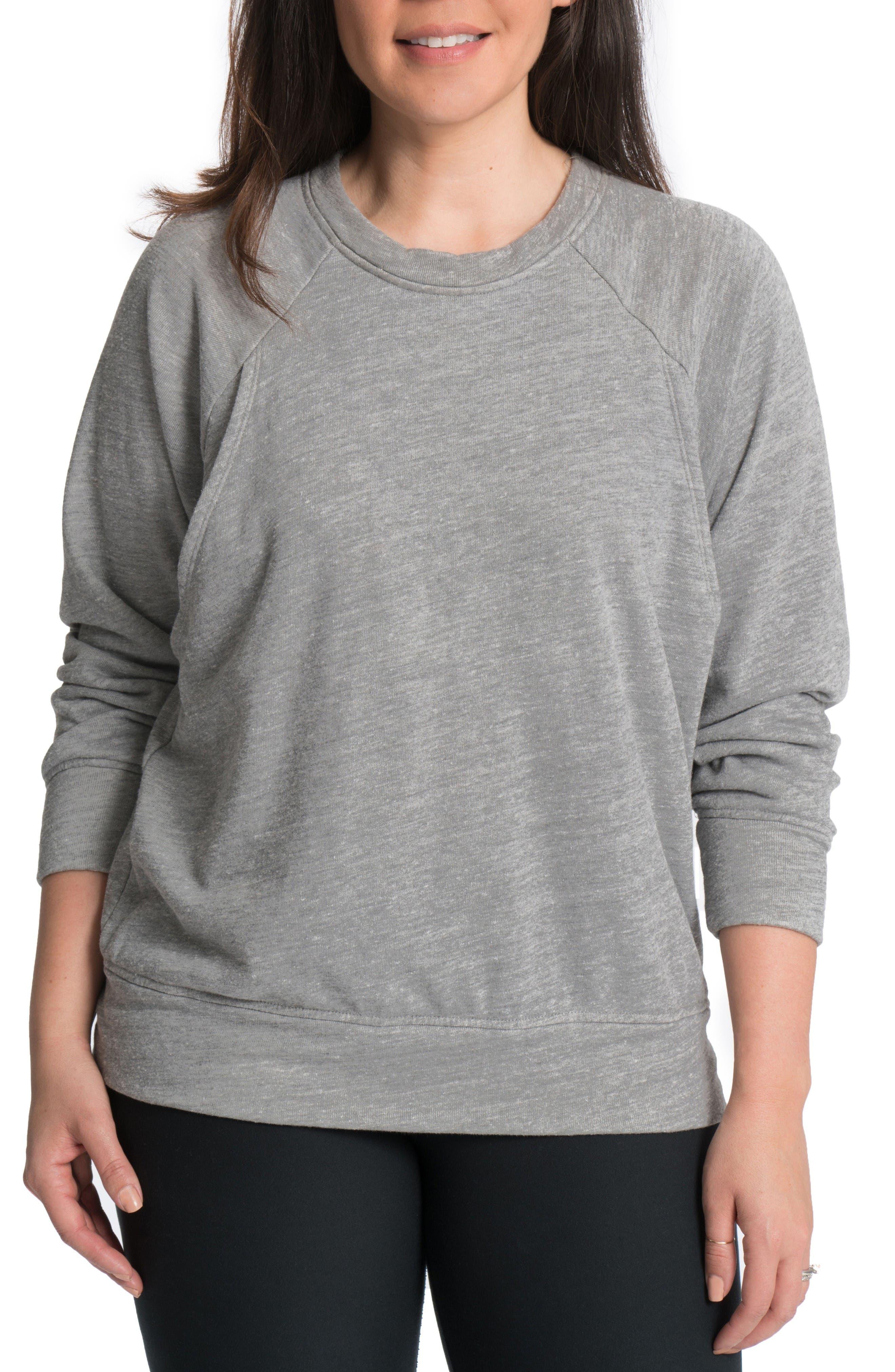 Alternate Image 1 Selected - Bun Maternity Relaxed Daily Maternity/Nursing Sweatshirt
