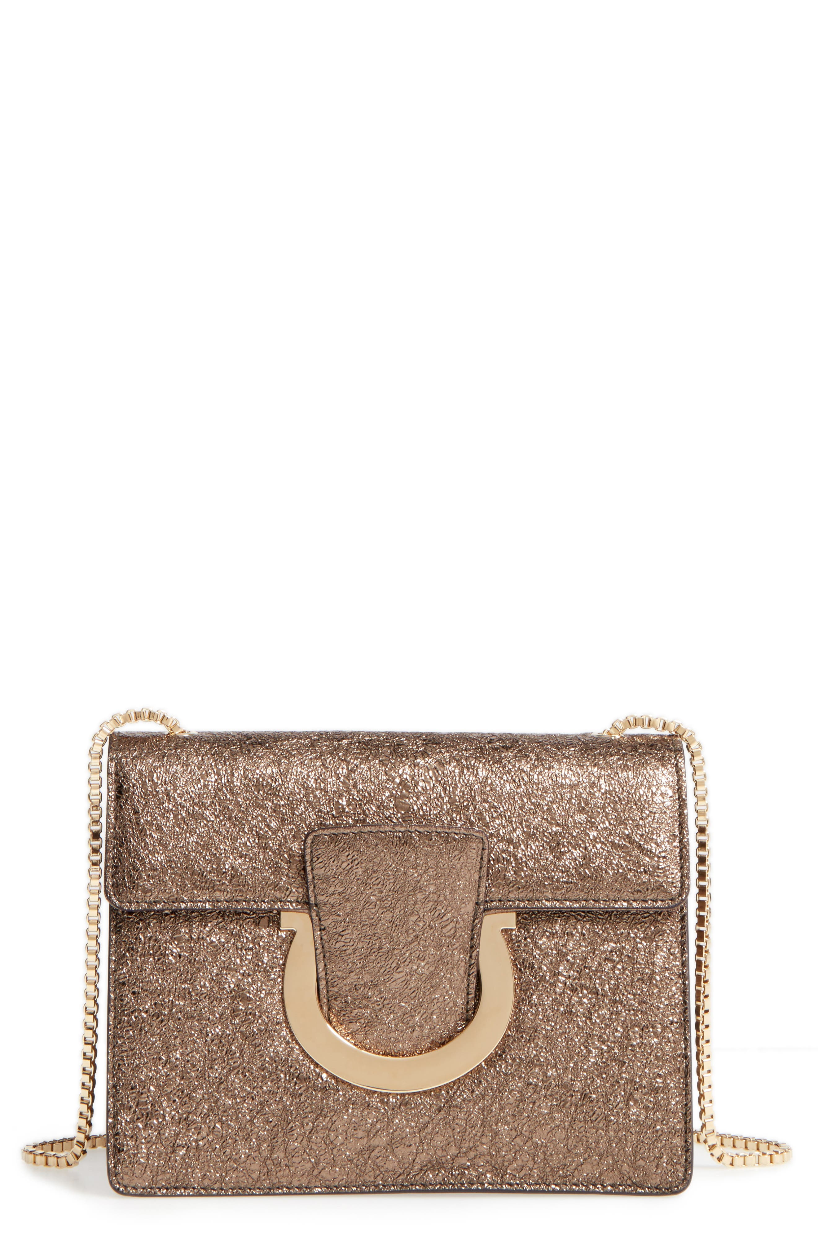Alternate Image 1 Selected - Salvatore Ferragamo Small Metallic Leather Chain Shoulder Bag
