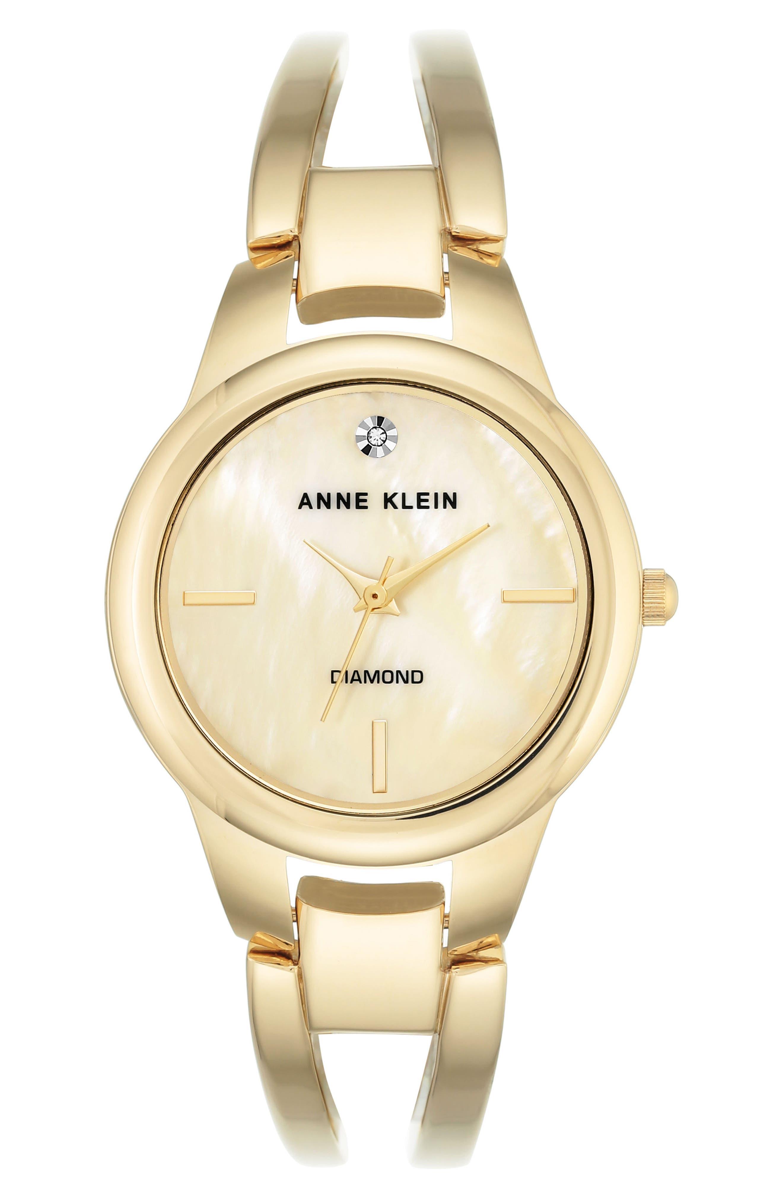 ANNE KLEIN Diamond Oval Bangle Watch, 32mm