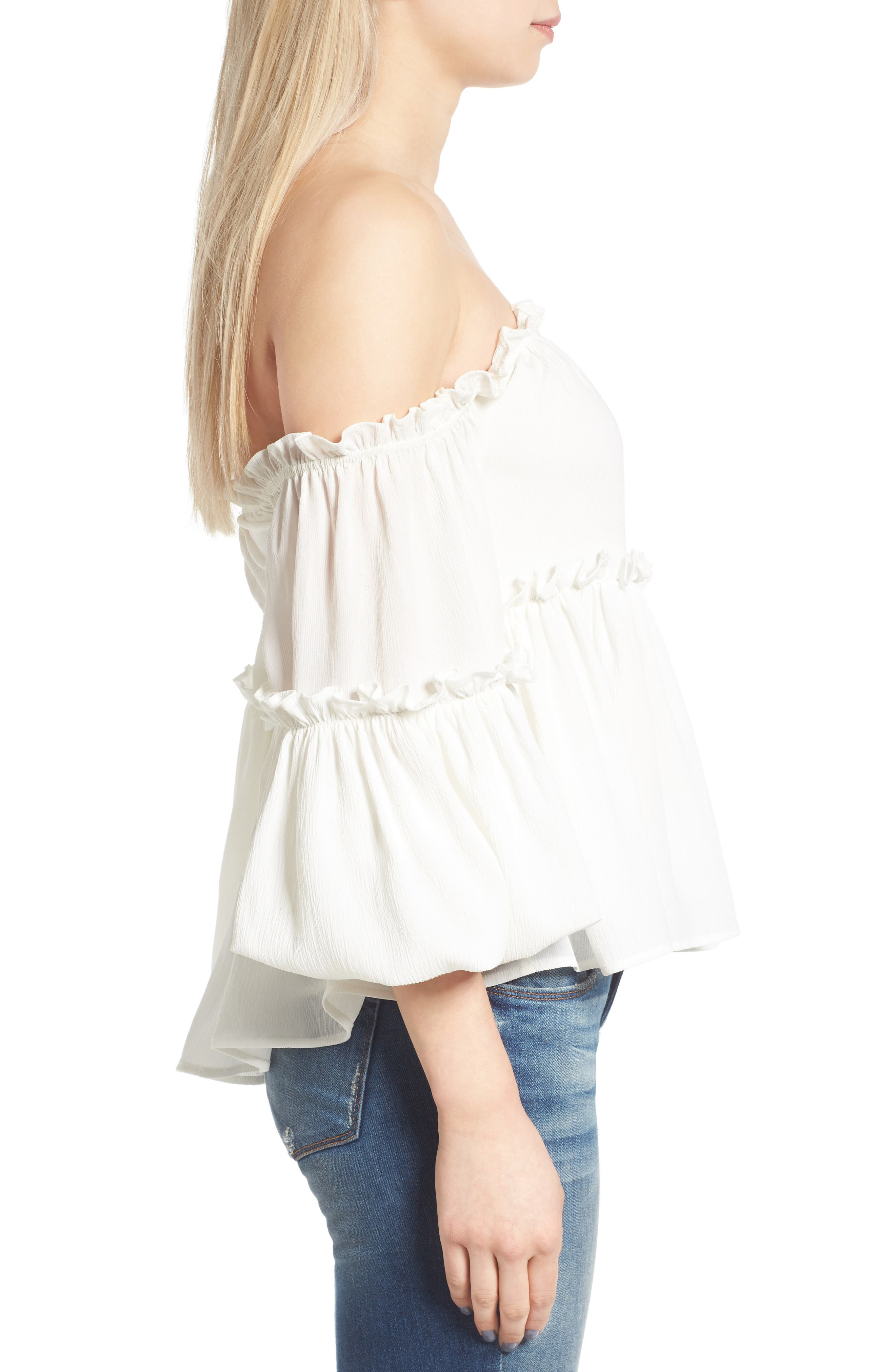Alternate Image 4  - J.O.A. Ruffle Off the Shoulder Top