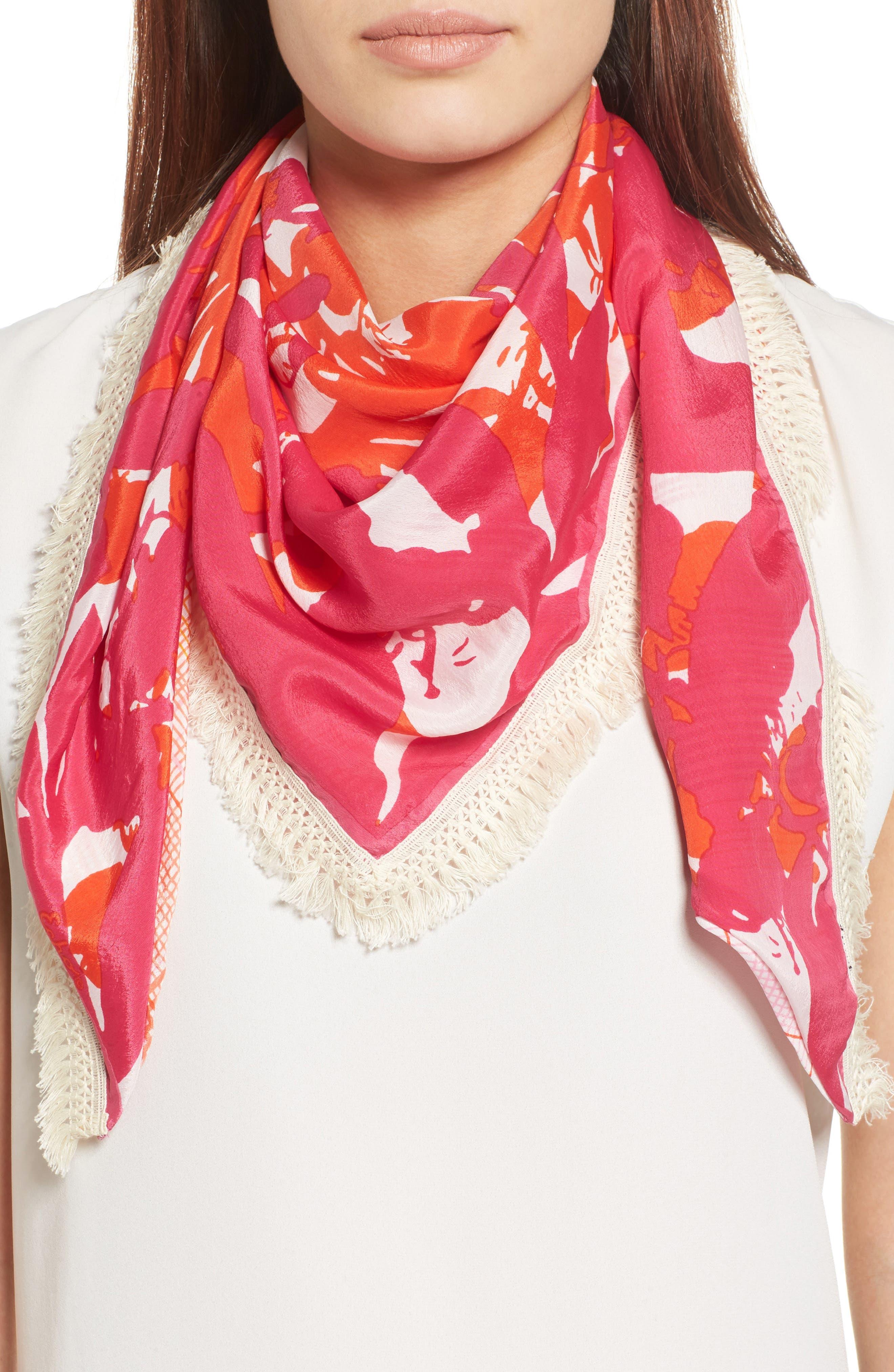 Parisian Plaid Triangle Scarf,                         Main,                         color, Hibiscus Pink