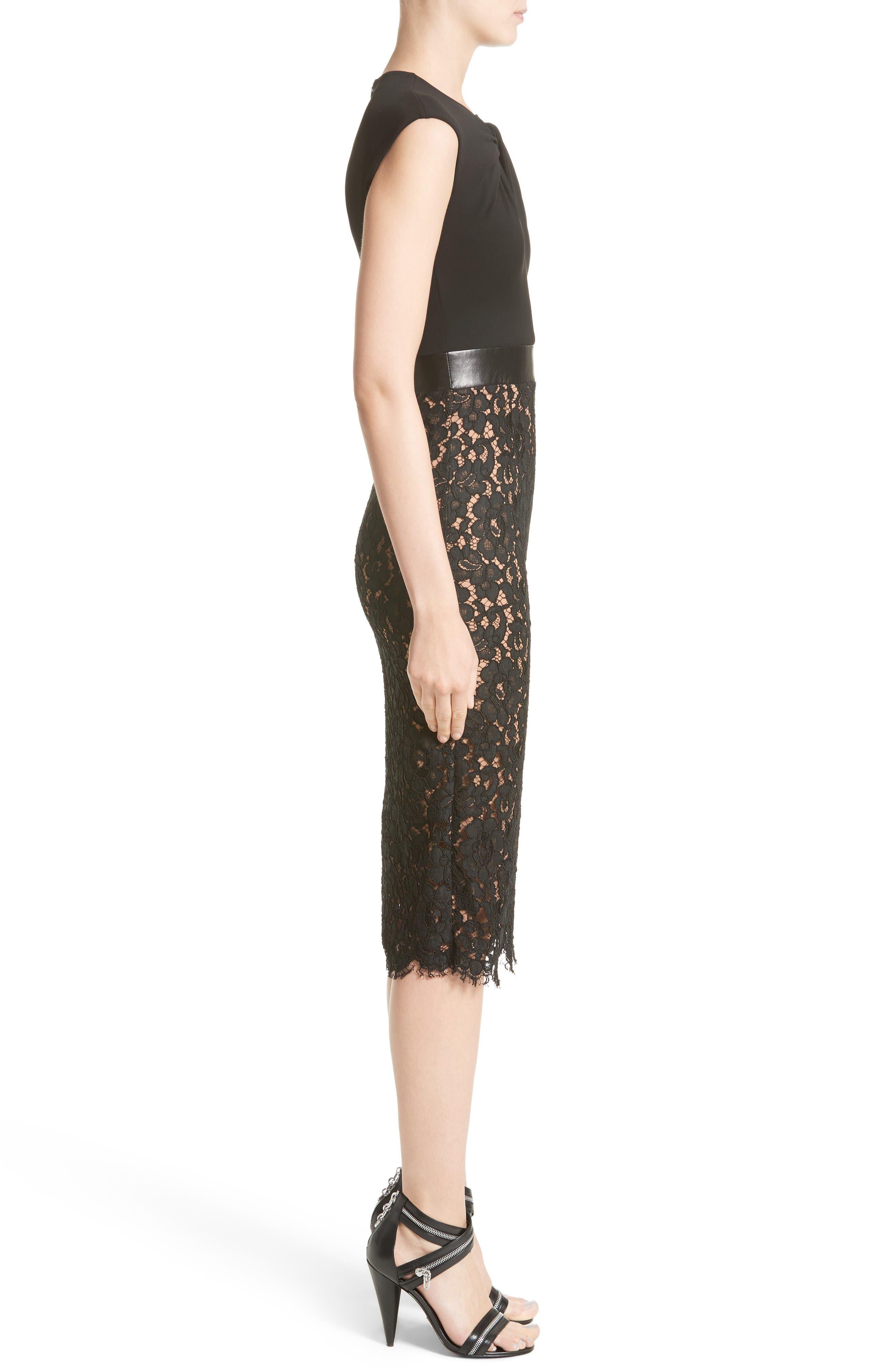 Alternate Image 5  - Michael Kors Leather Trim Jersey & Lace Sheath Dress