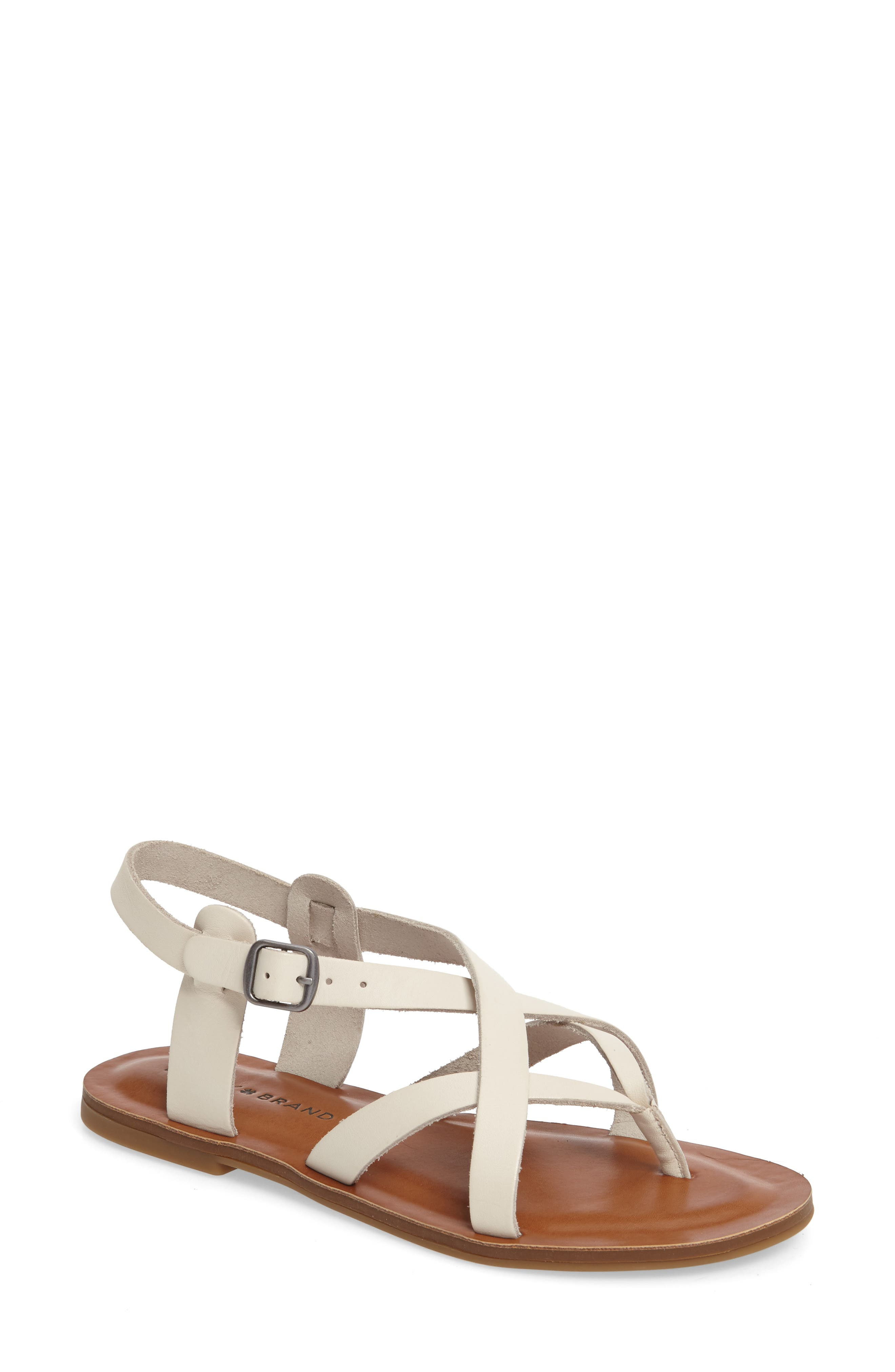Adinis Flat Sandal,                         Main,                         color, Sand Shell Leather