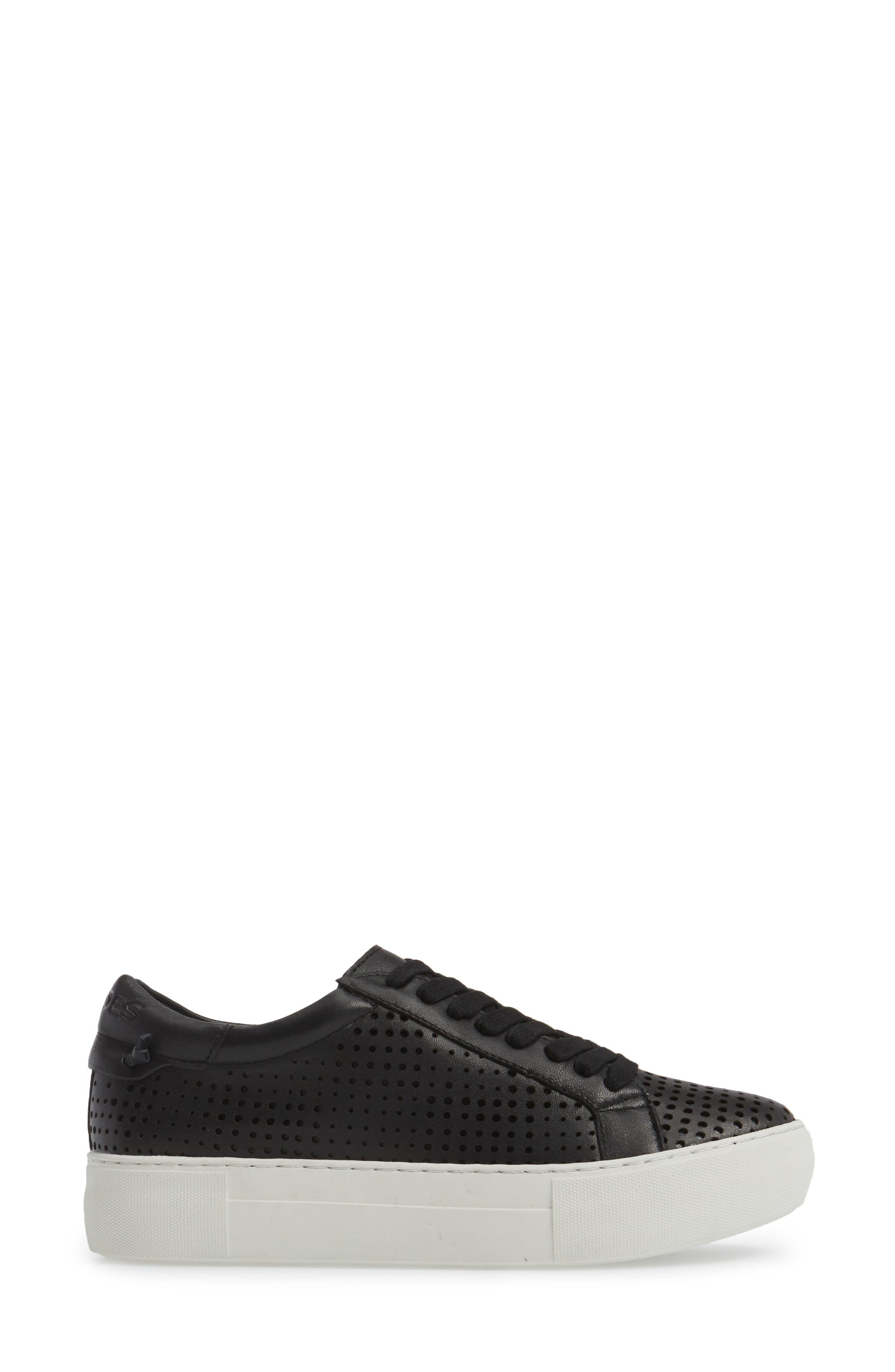 Audrina Platform Sneaker,                             Alternate thumbnail 3, color,                             Black Leather